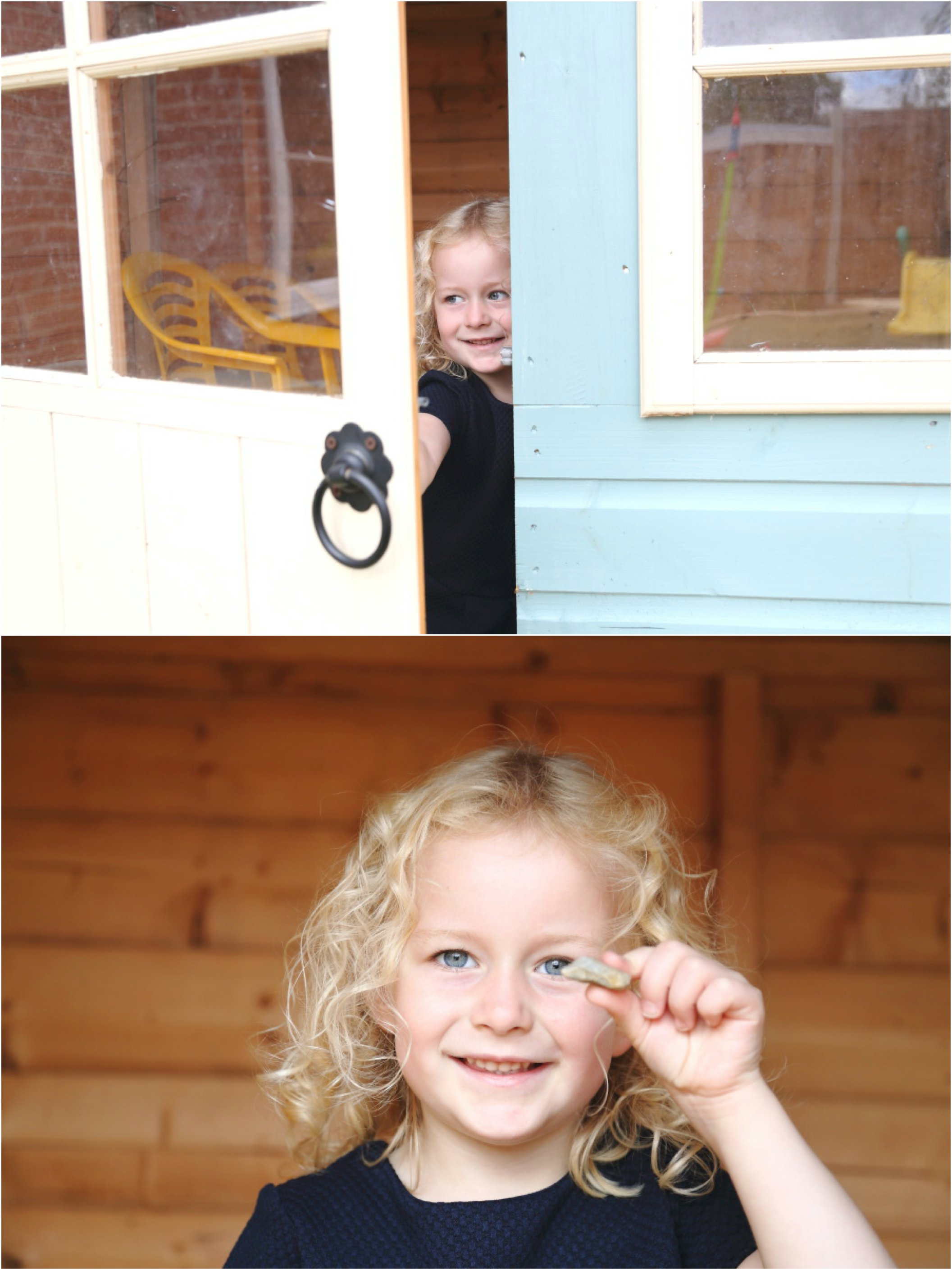 peeking out of the playhouse at family photography session in Kedington, Suffolk