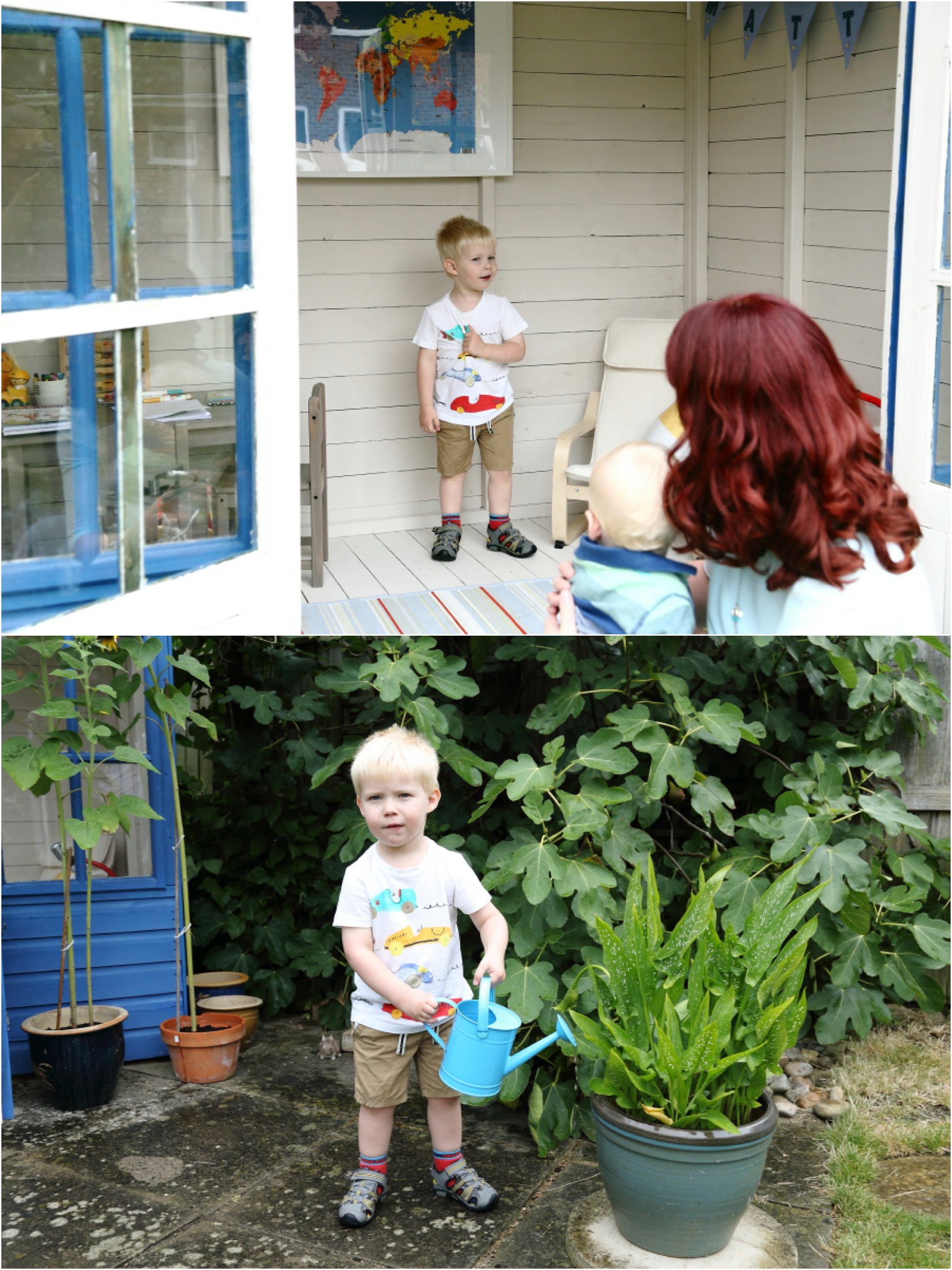 playing in the play house and watering the plants at family photogrpahy session in Cambridge