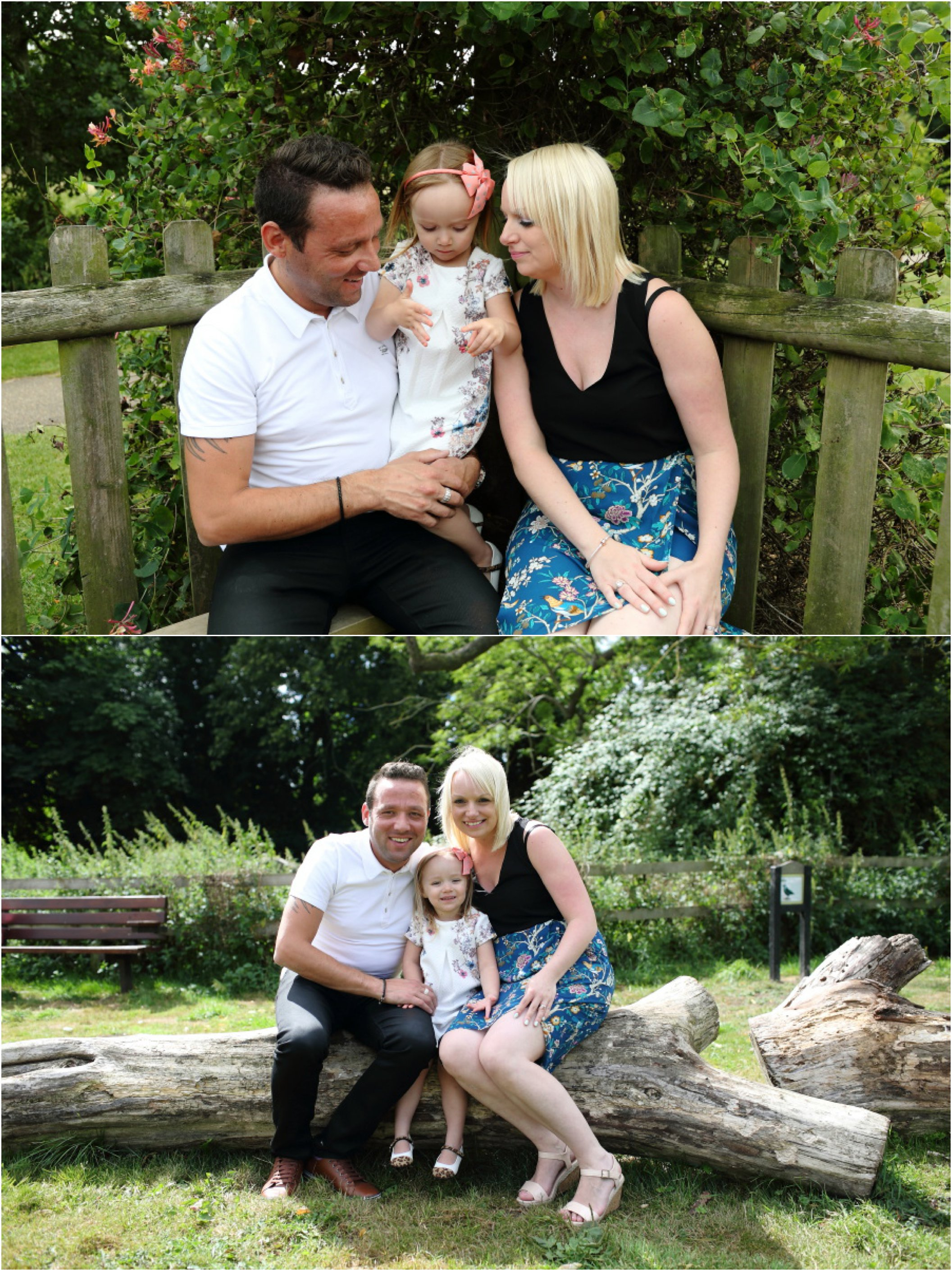 family photography session haverhill suffolk, sitting on a fallen tree