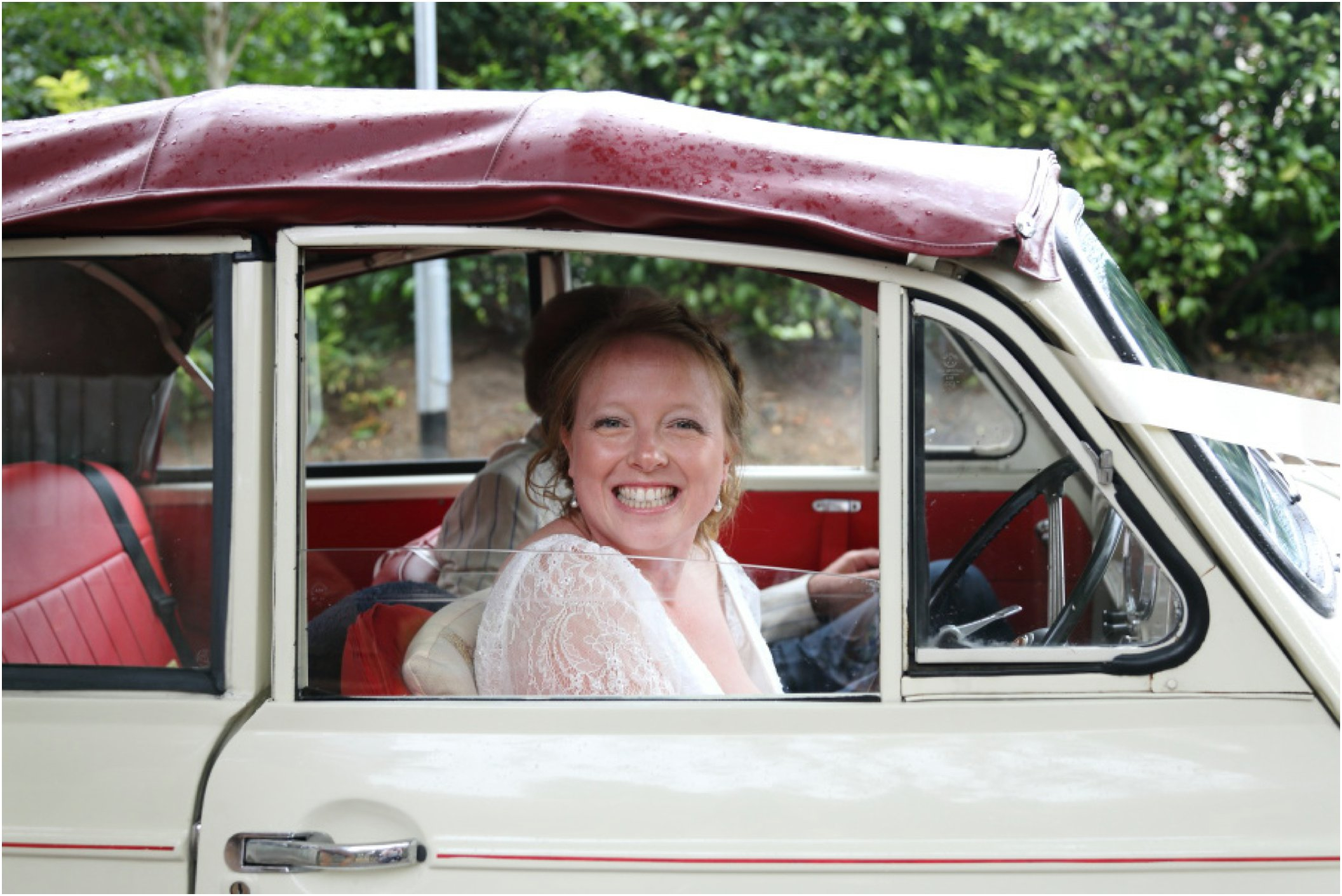 Birde drove herself to church in fathers morris minor, Cambridge wedding