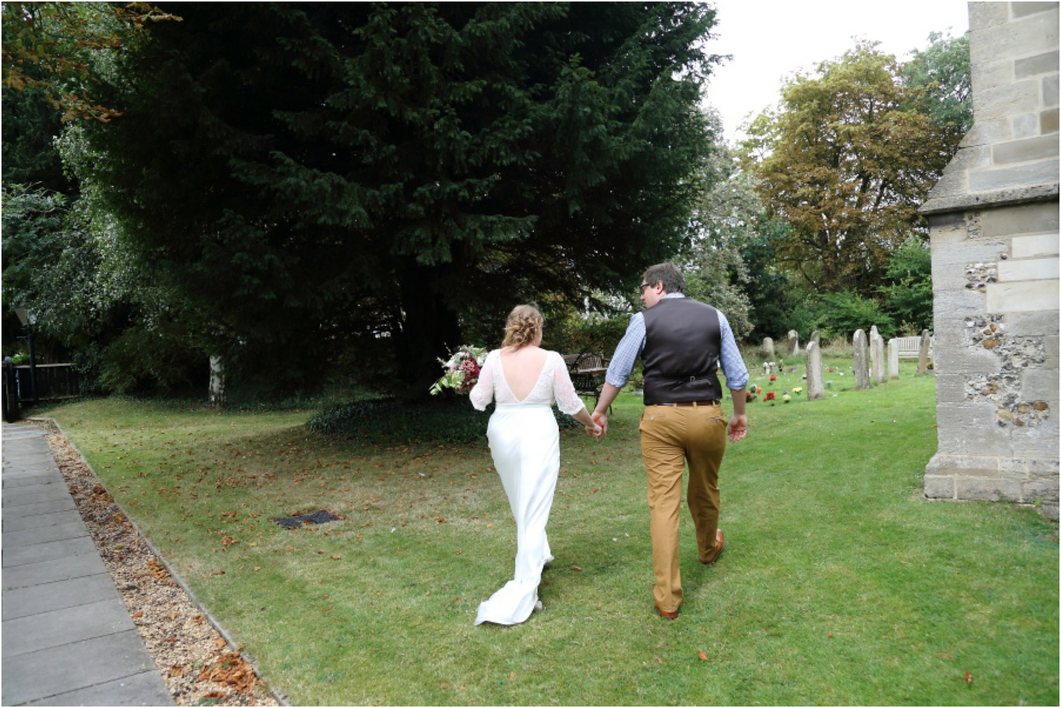 Relaxed couples portraits at Cambridge wedding, Stapleford church