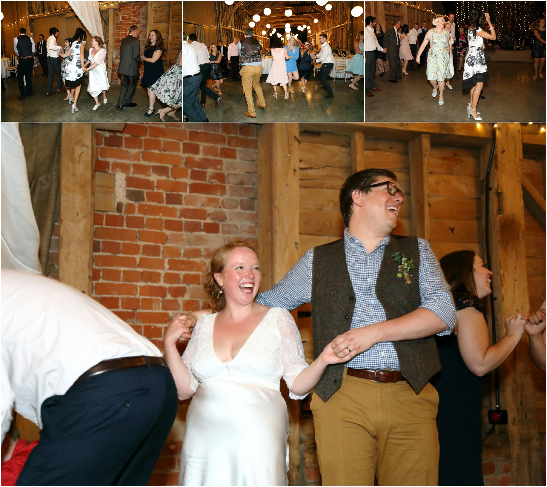 Fun wedding photography of Ceilidh band at cambridge wedding, Childerley Long Barn