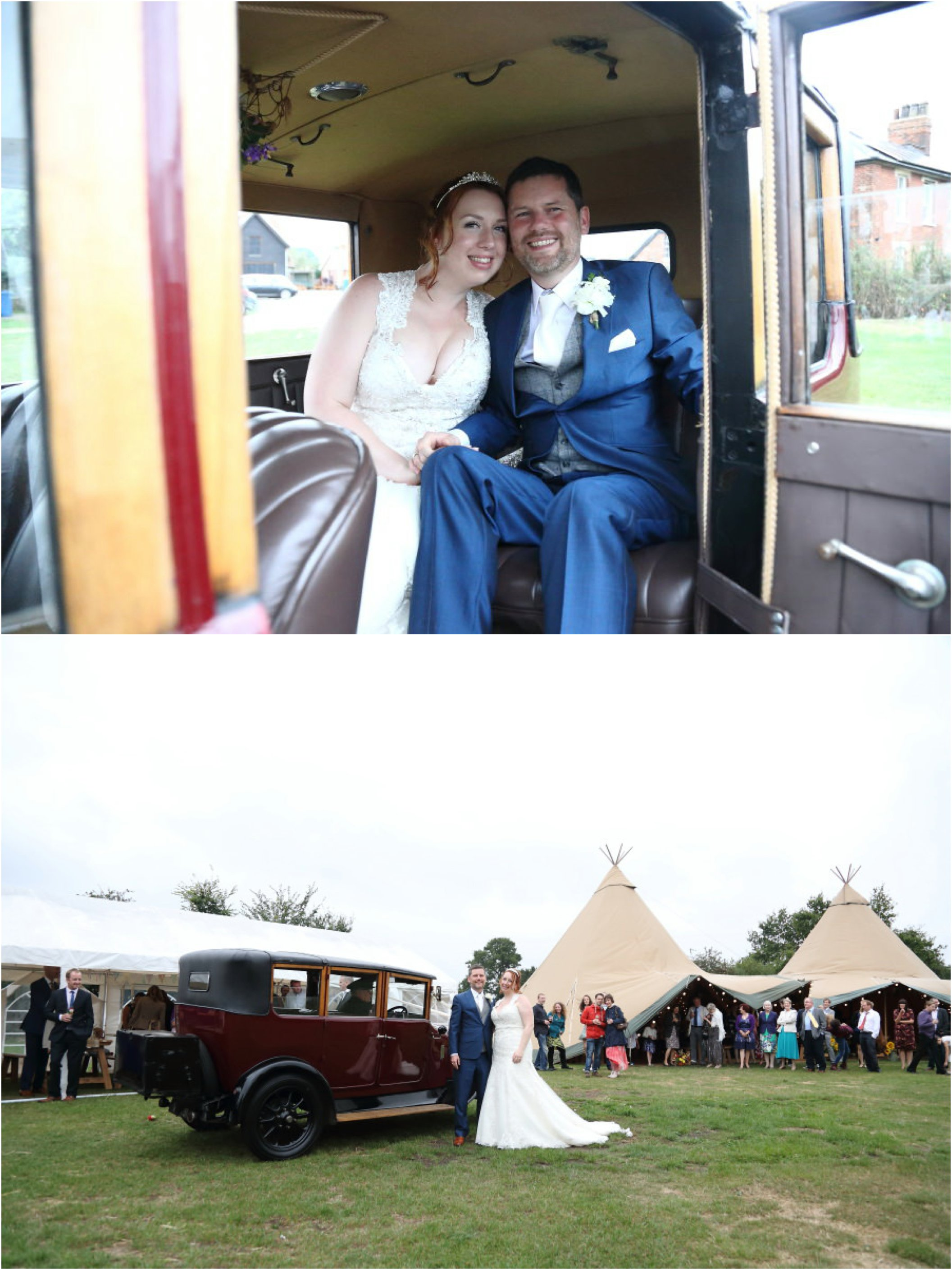 vintage car and tipi wedding reception, Lavenham suffolk