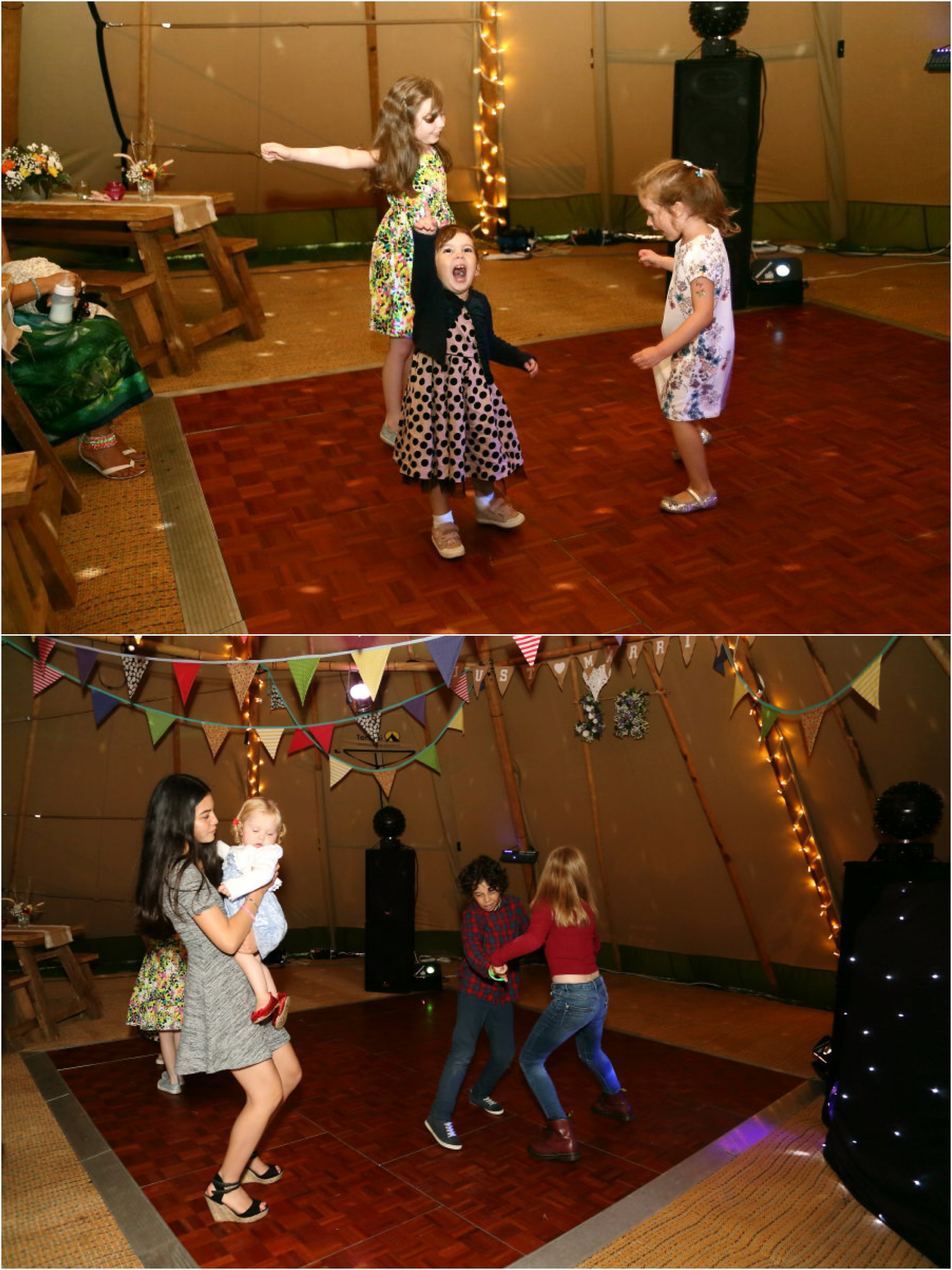 fun dancing in the tipi at rustic suffolk wedding