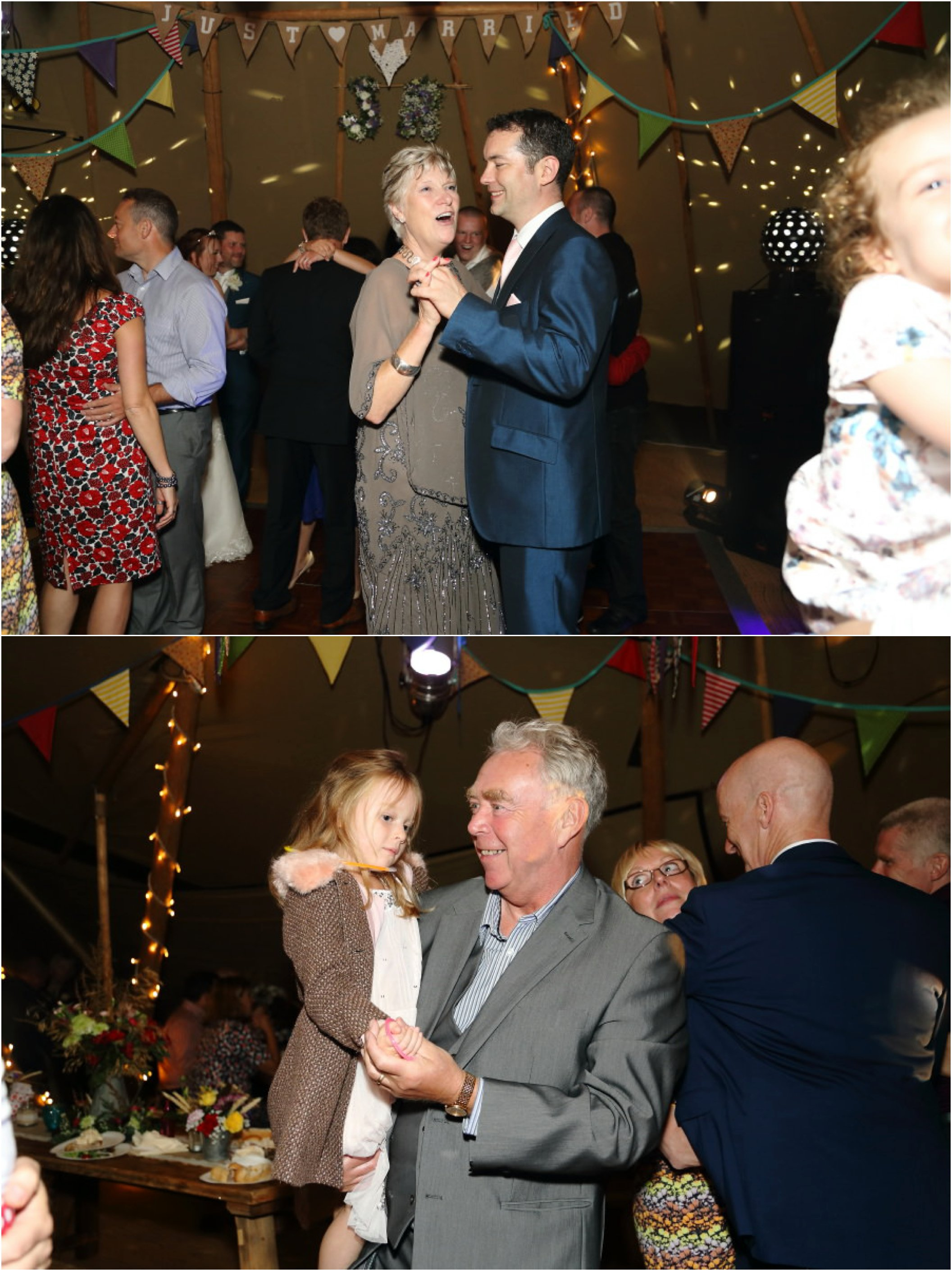fun dancing at rustic wedding in tipi in suffolk field
