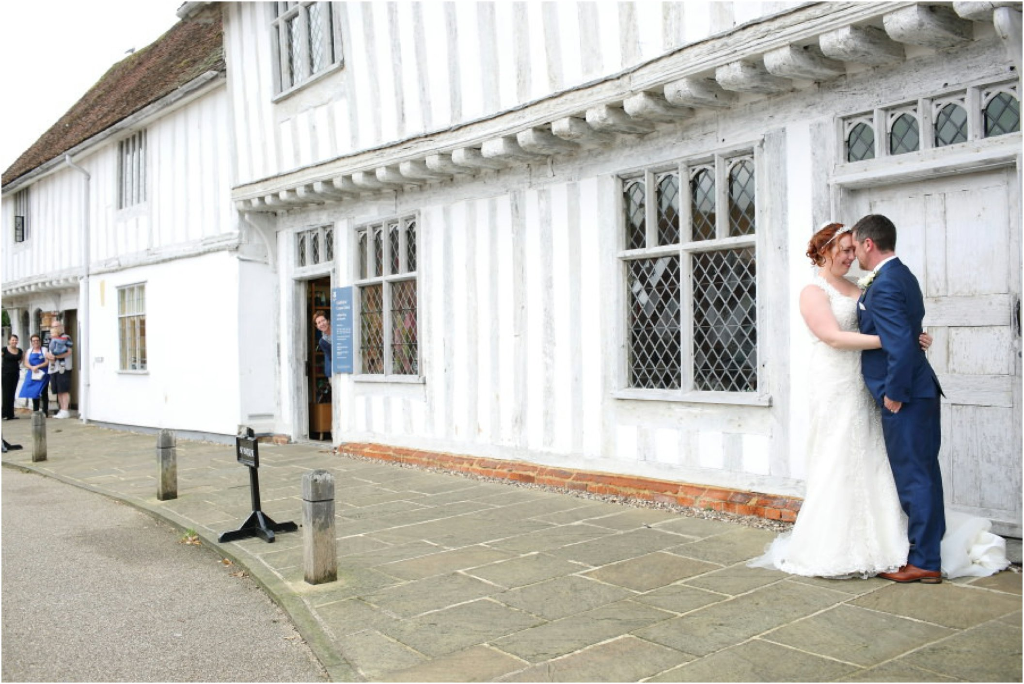 lavenham wedding photography, locals looking on at the happy couple