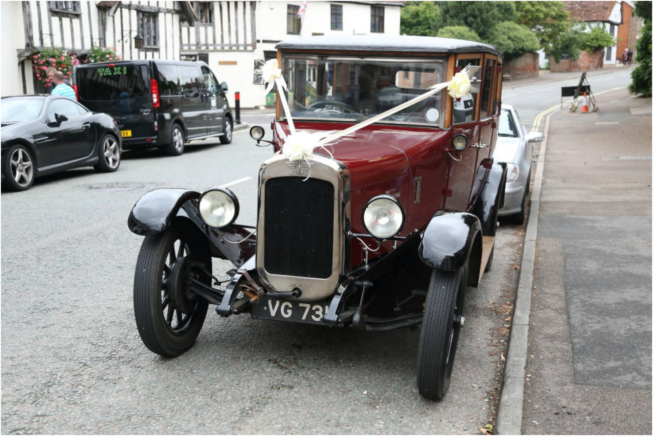 Vintage car at lavenham wedding, suffolk