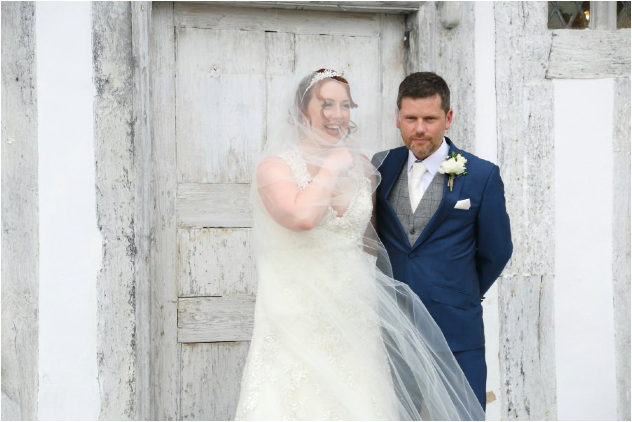 veil caught in the wind at Lavenham wedding, suffolk