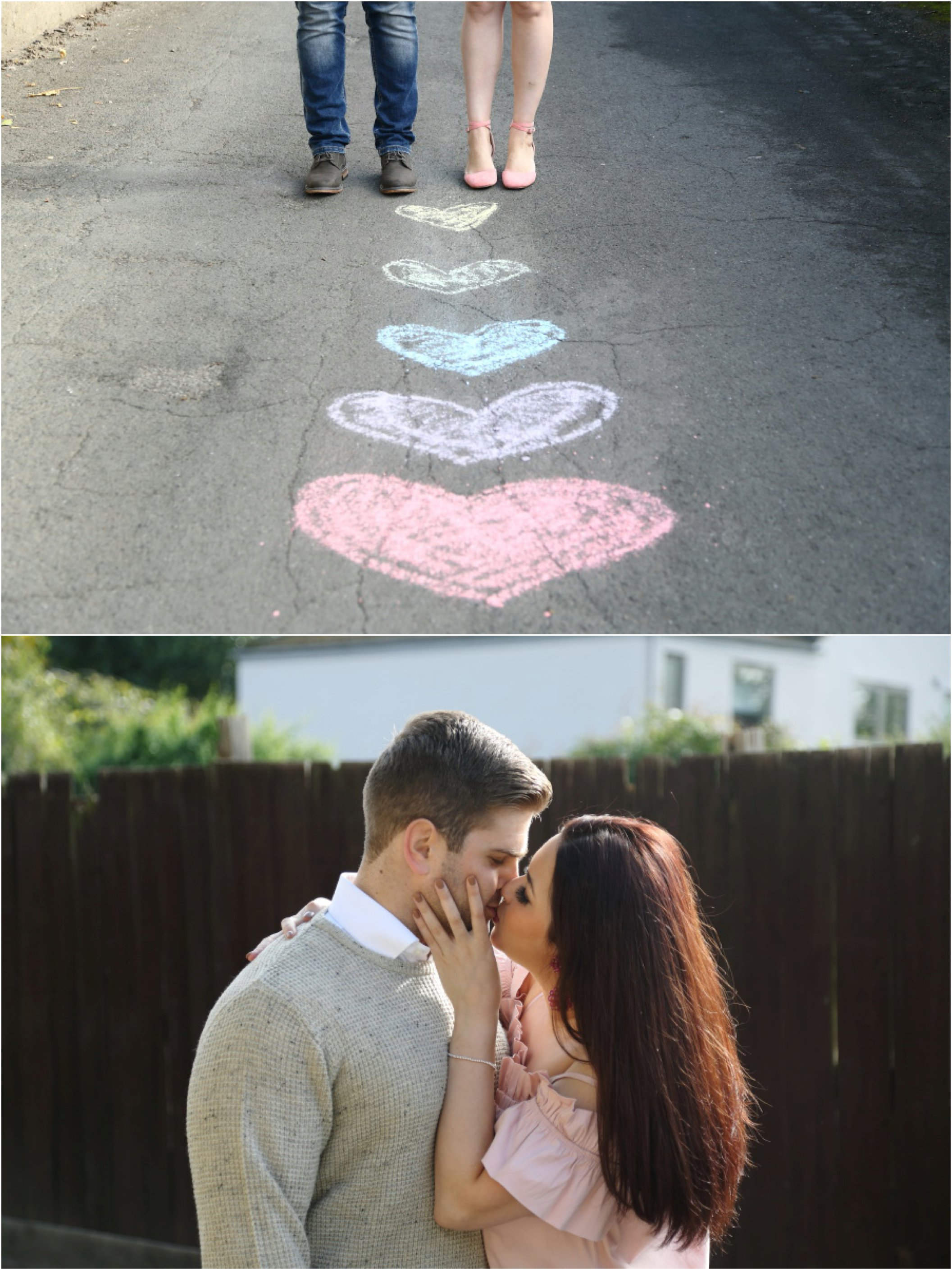 chalk love hearts at romantic couples photo shoot