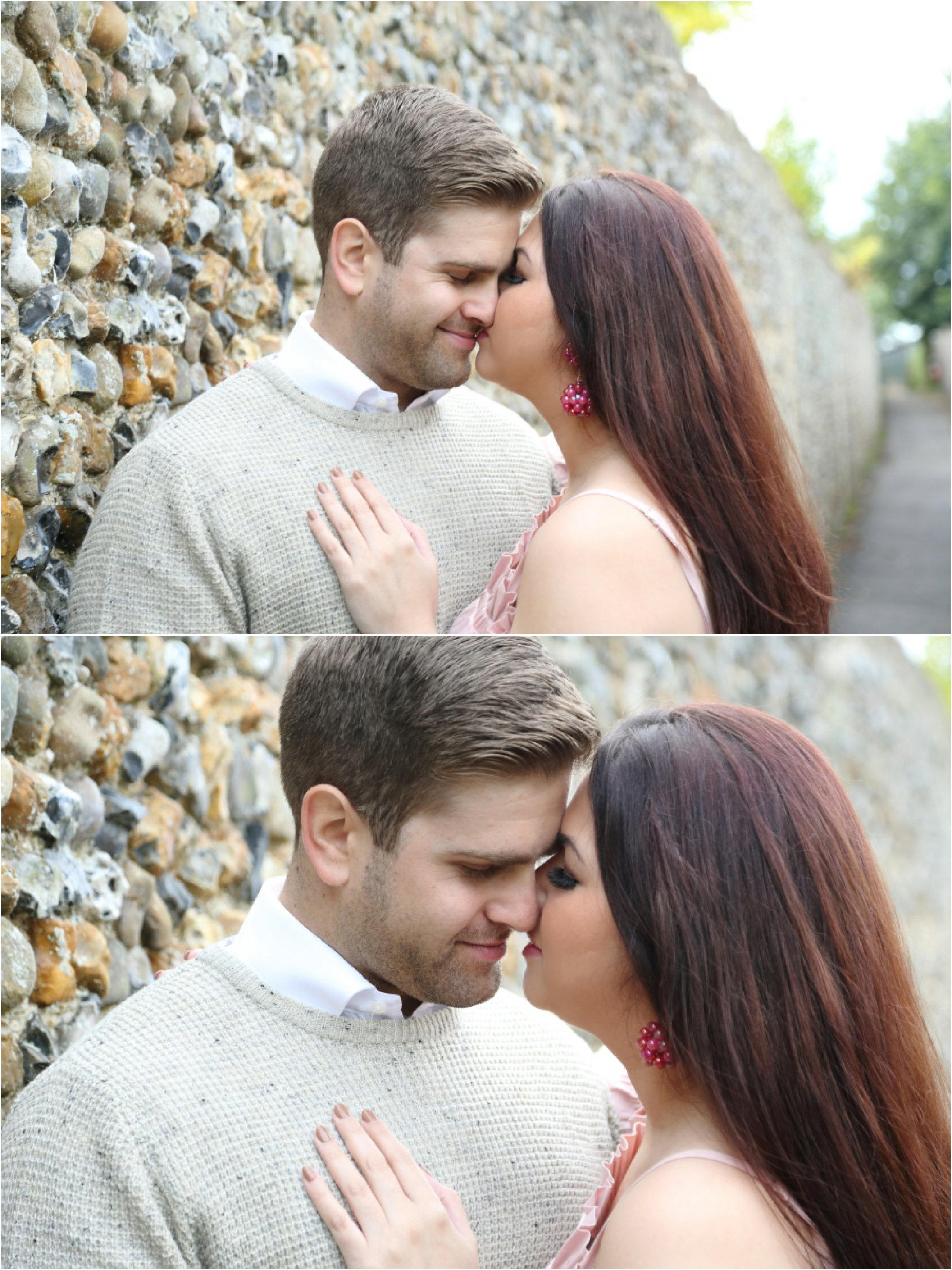 loving couple at romantic fun engagement photo shoot