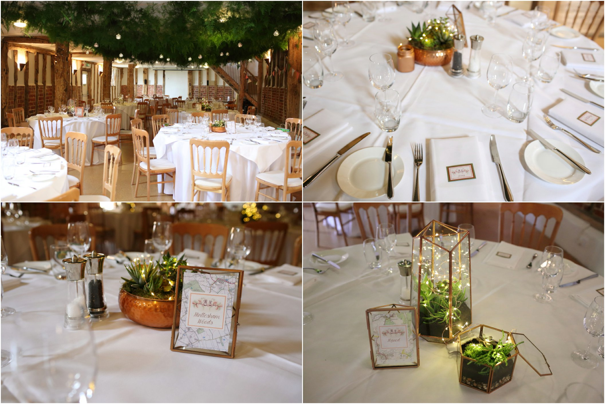 white and copper dectorations at Moreves Barn Suffolk. Green foliage canopy indoors above tables
