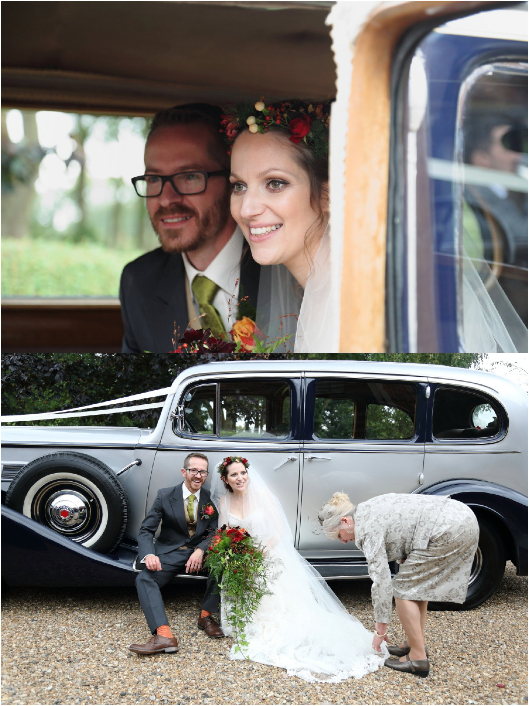 vintage car and flower crown at moreves barn wedidng, suffolk