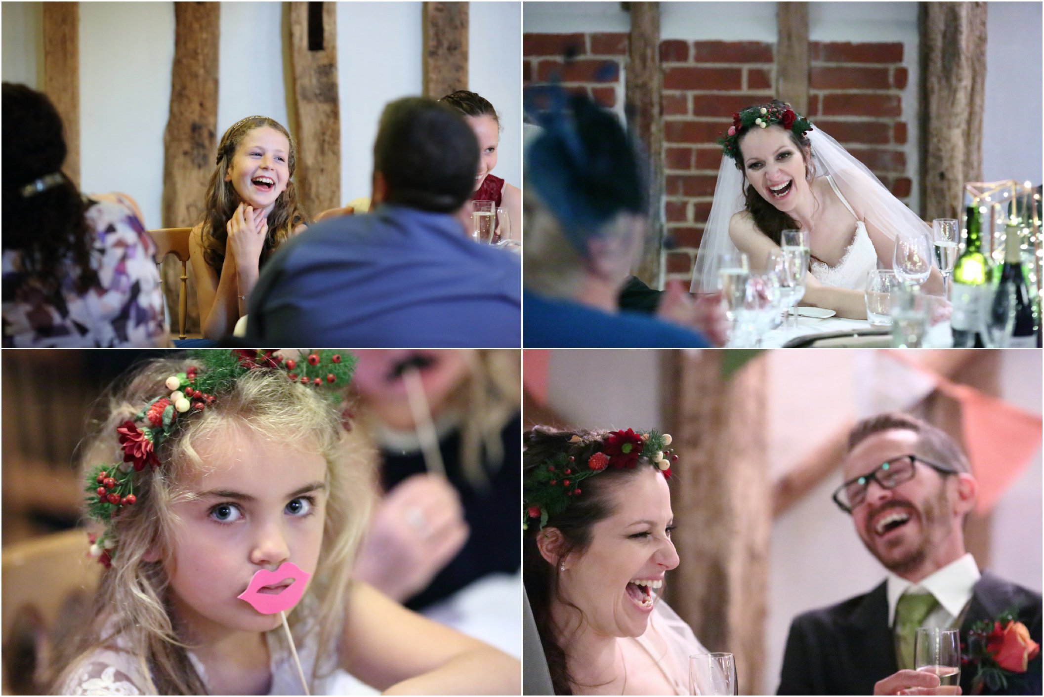 Laughter at rustic autumn wedding at Moreves barn, suffolk