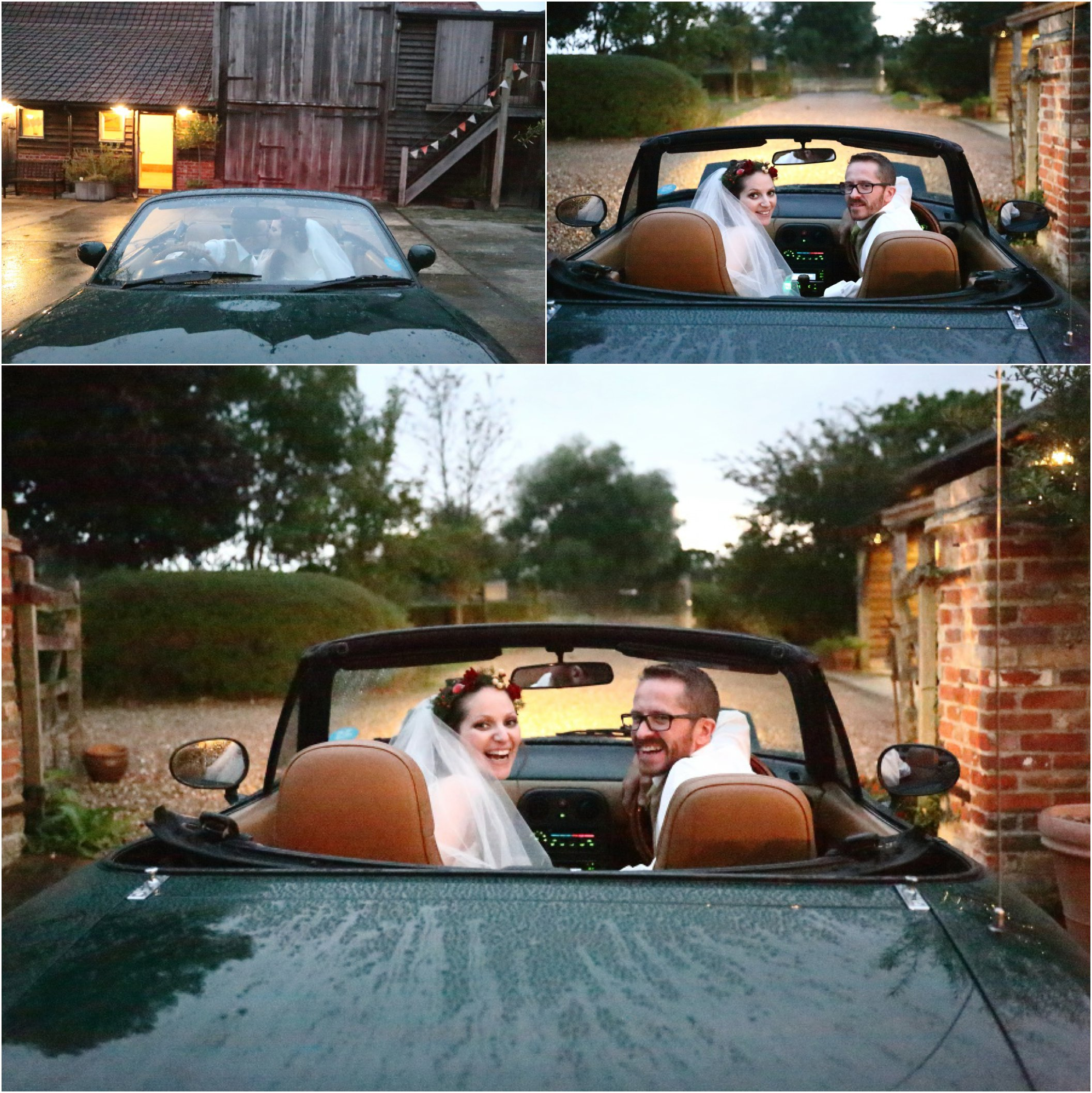 happy couple in their MG at wedding, Moreves barn, suffolk
