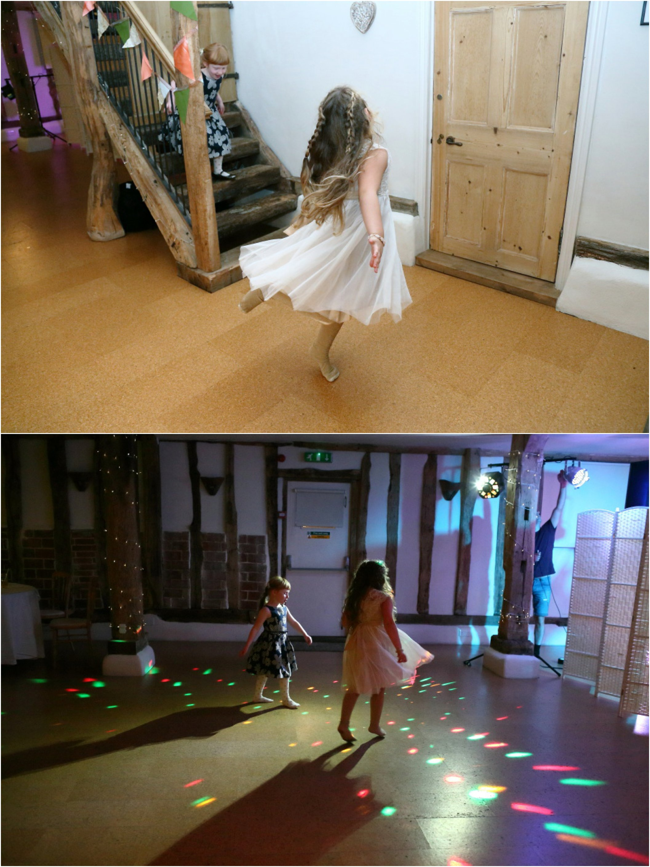 kids dancing at wedding reception, Moreves Barn Suffolk