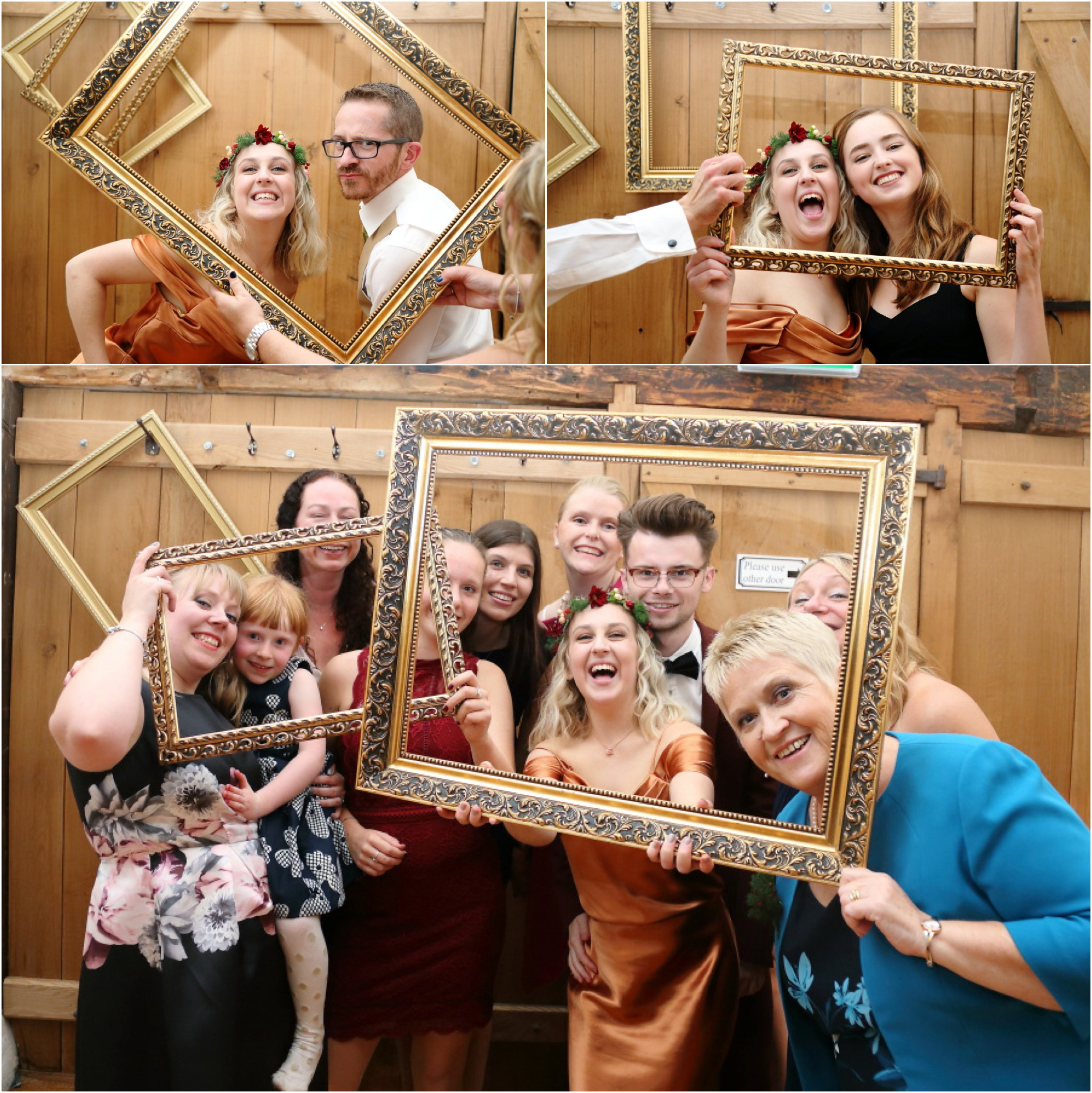 using picture frames at make shift photo booth, moreves barn wedding photography