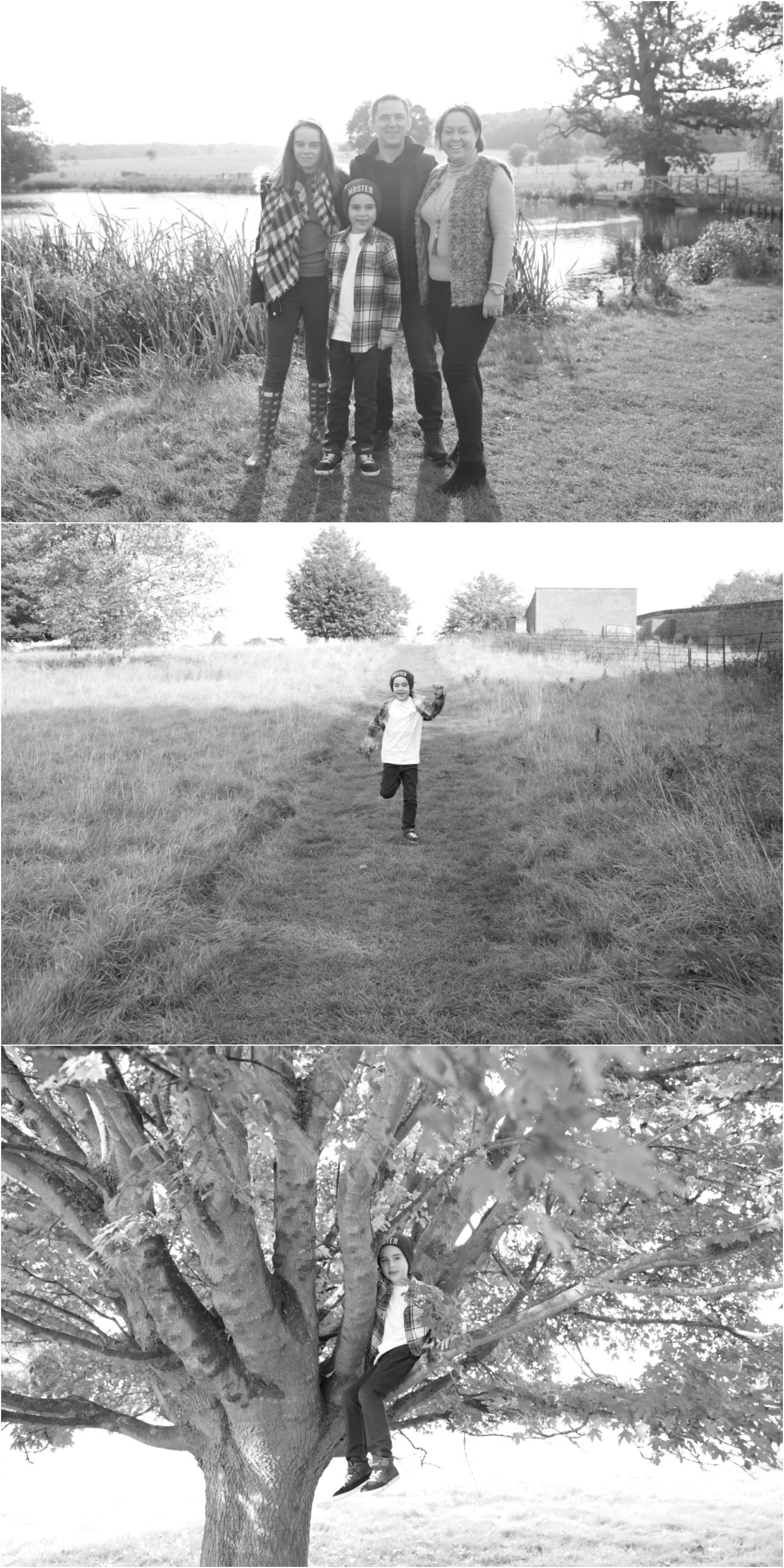 fun alternative black and white family photography in the suffolk countryside