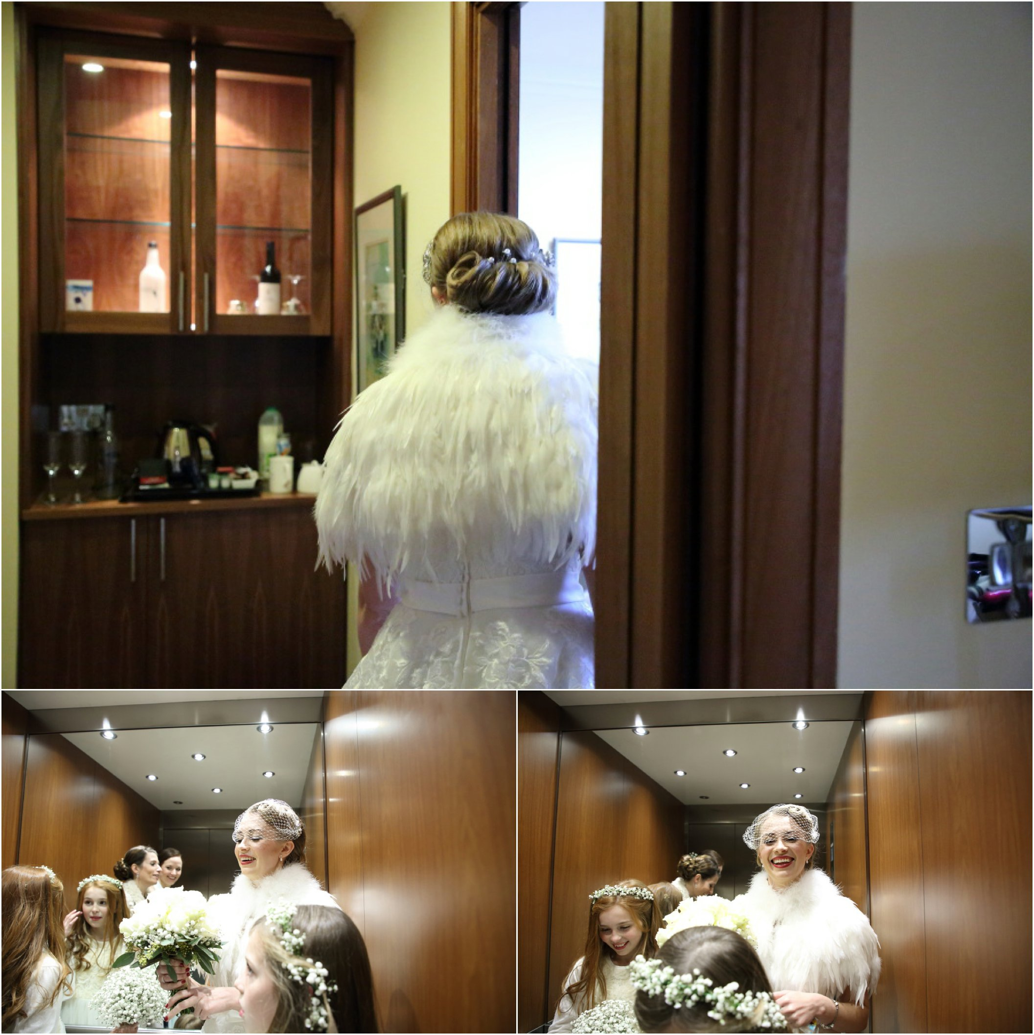 beautiful vintage style intimate wedding Cambridge, bride in a lift on way to ceremony