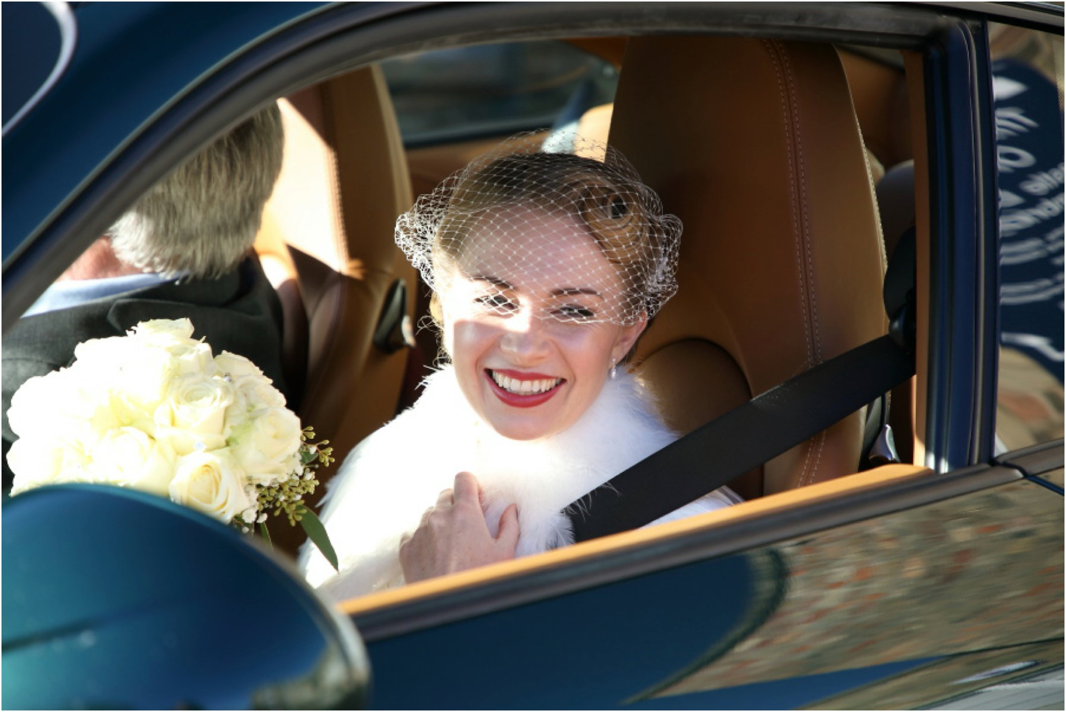bridcage veil on beautiful 50's bride at cambridge wedding