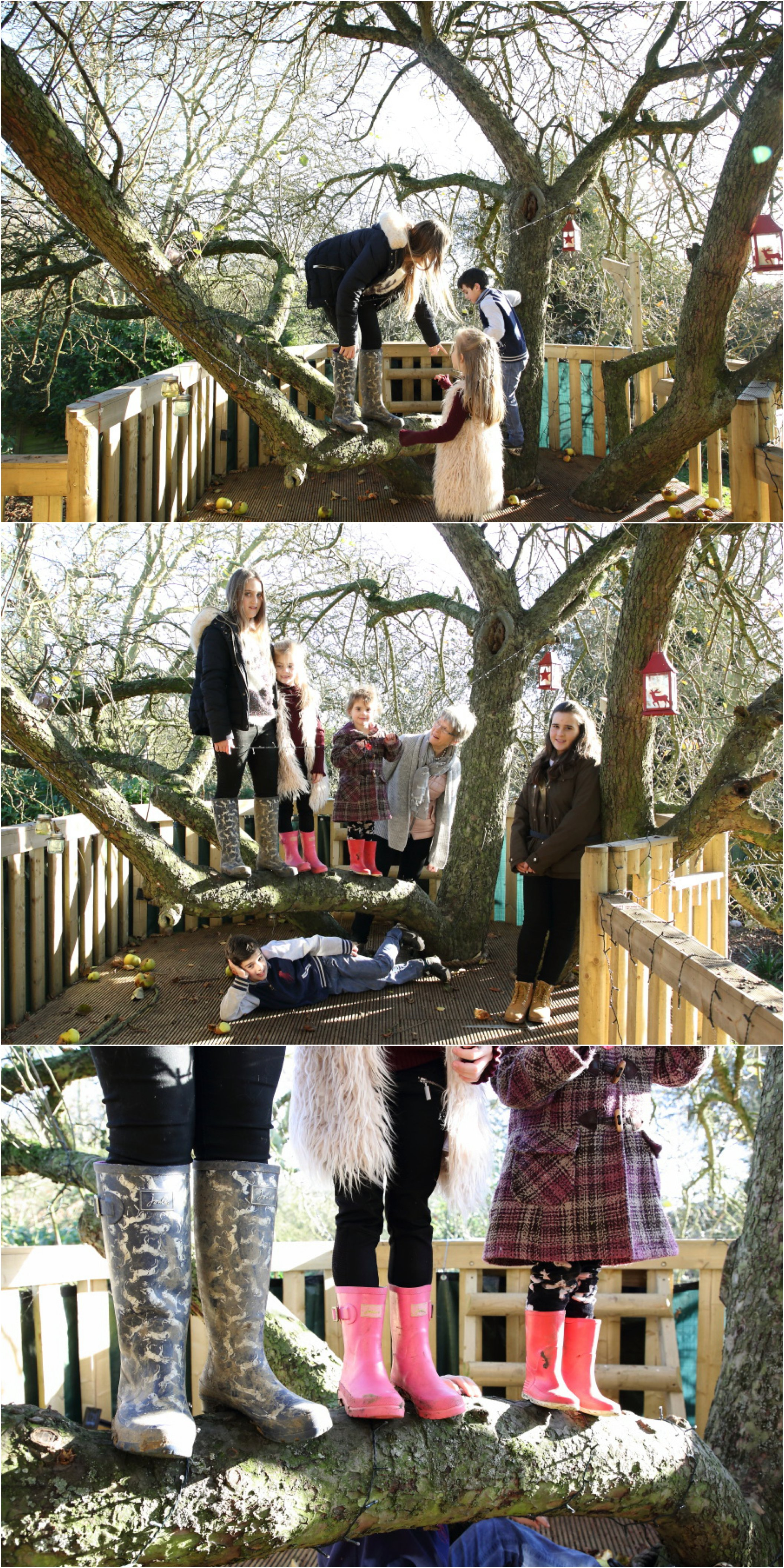 playing in the tree house at relaxed family photo shoot in suffolk