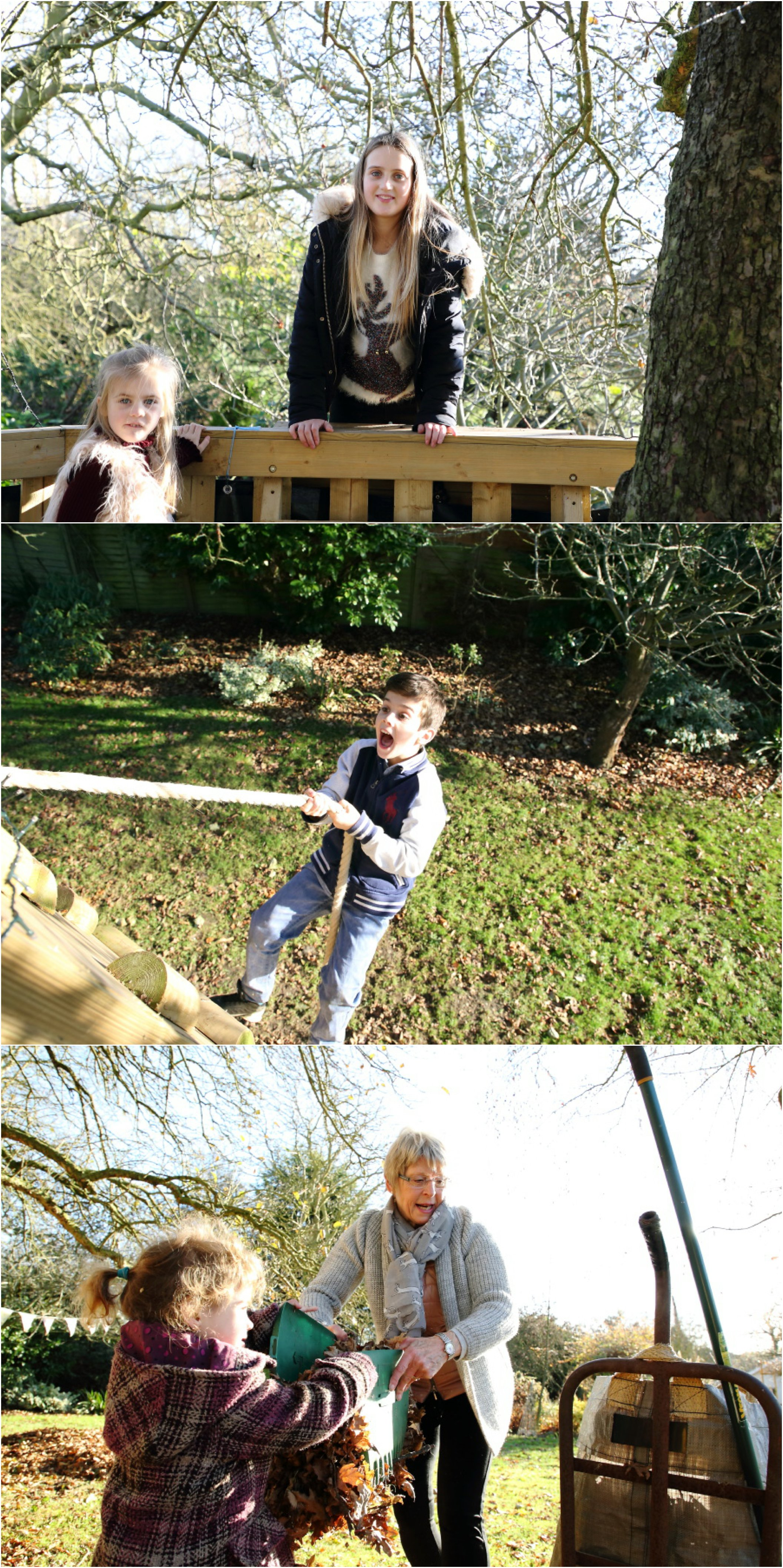 treehouse fun and leaf collecting at suffolk farm family photo shoot