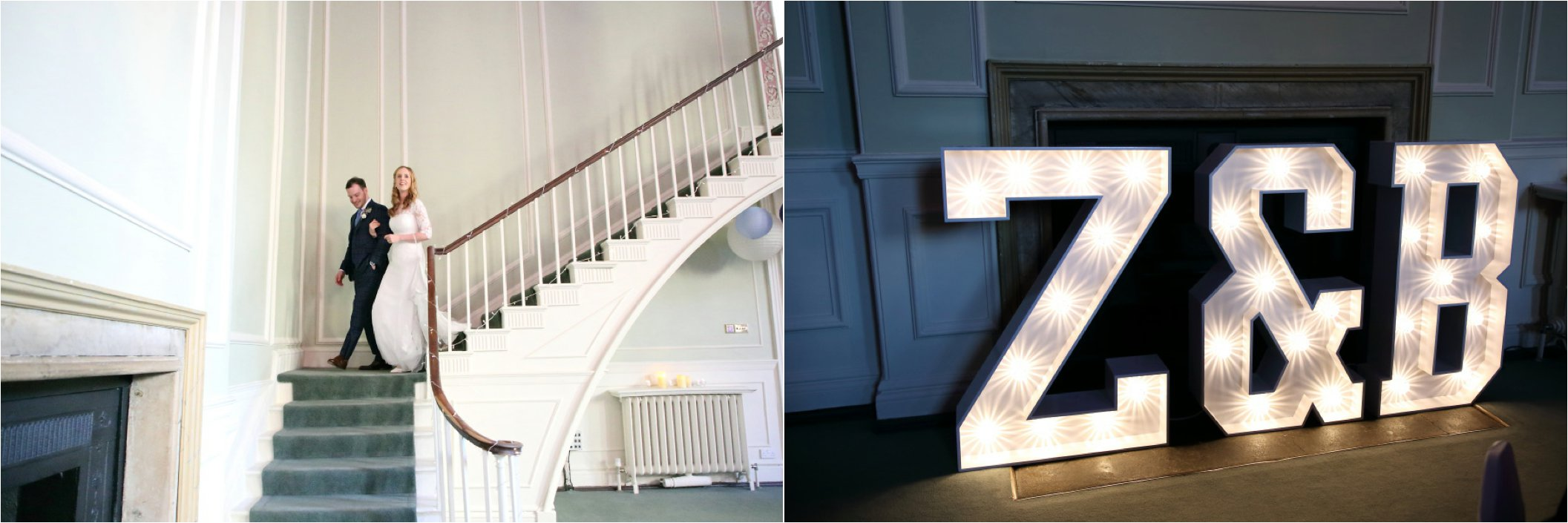 light up giant letters and walking down the staircase at wedding The Athenaeum Bury St Edmunds