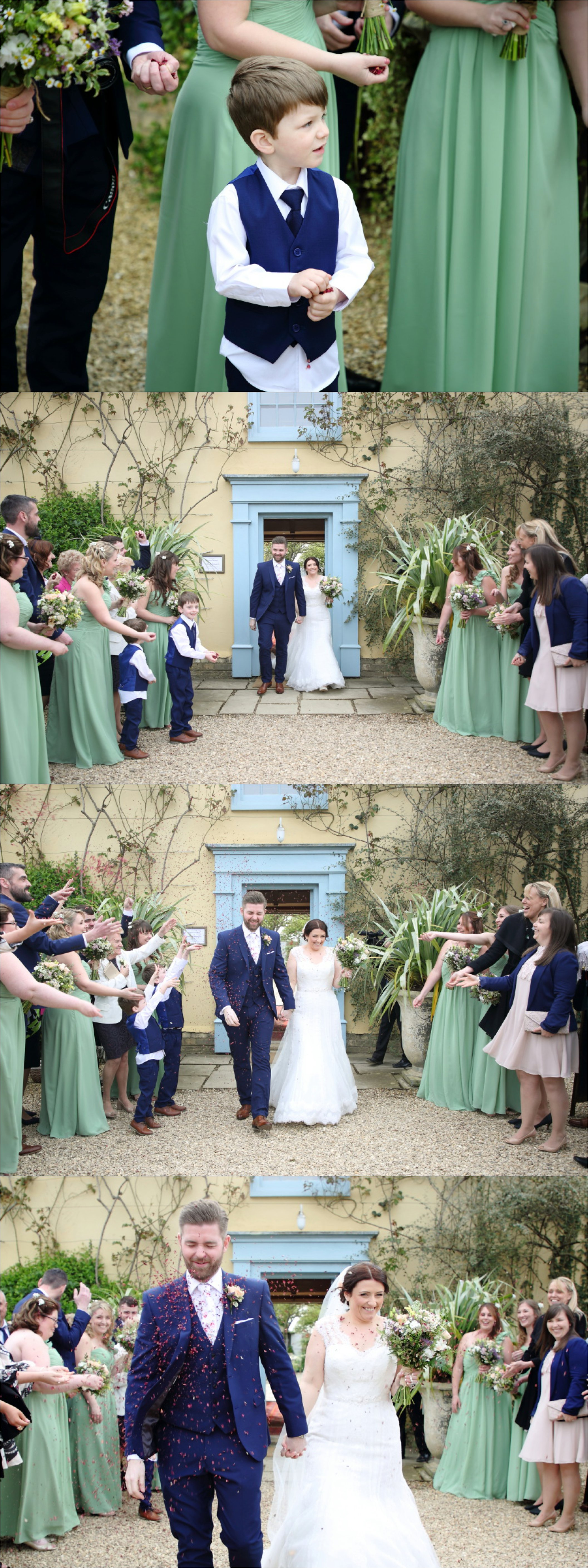 beautiful south farm wedding, confetti shot coming out of the blue front door