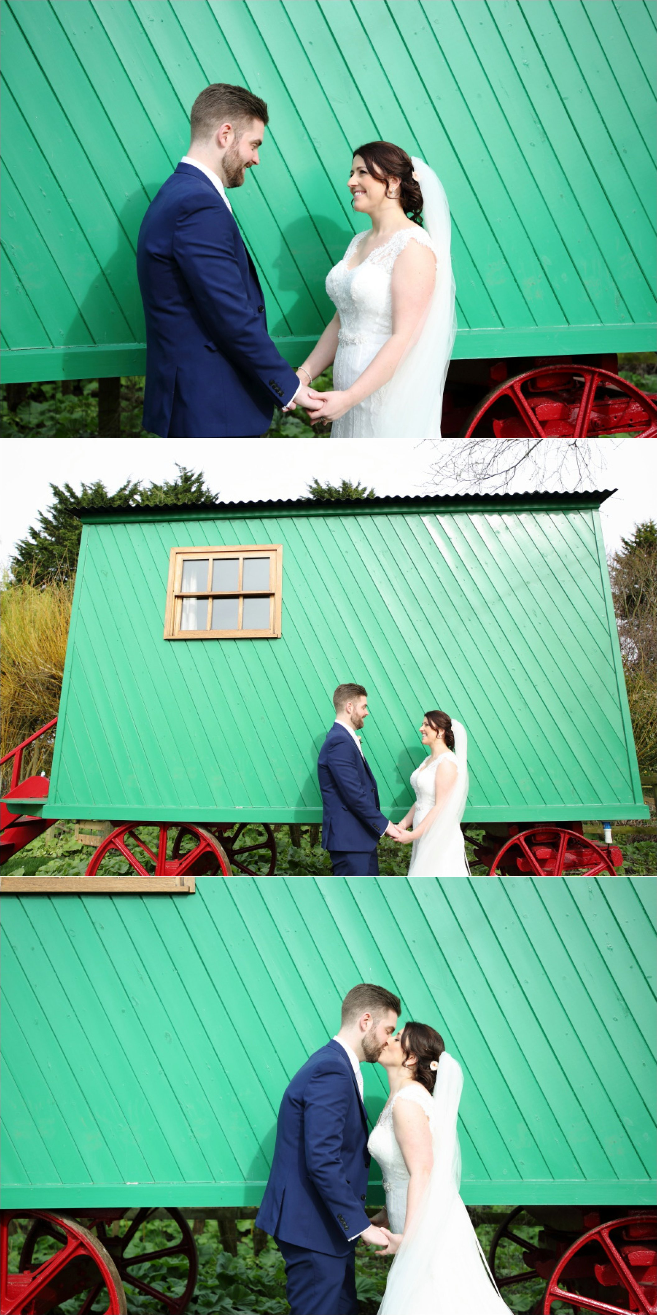 relaxed wedding portraiture at south farm with colourful caravans as backdrop