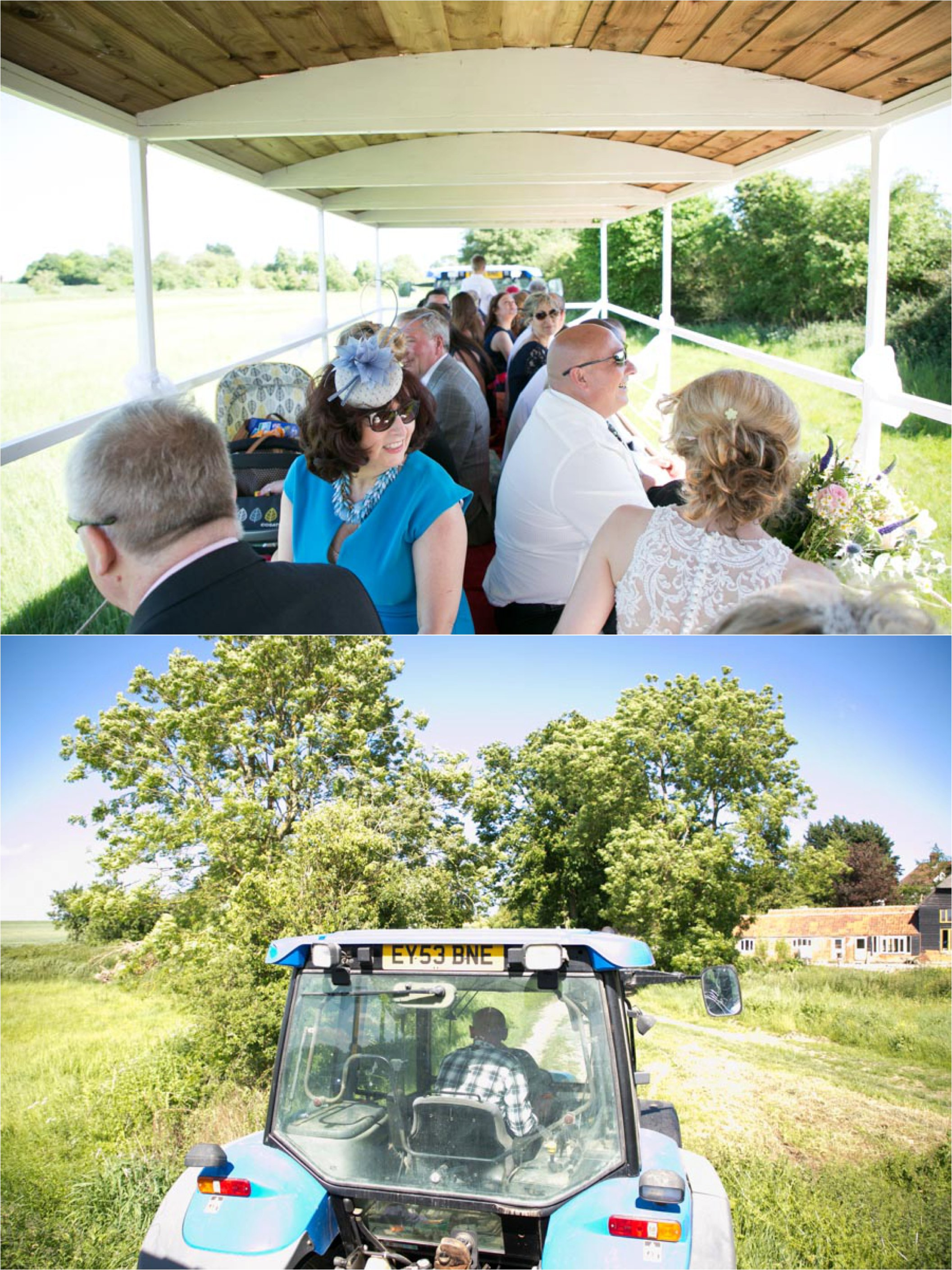 guests traveling by tractor at outdoor wedding reid rooms, essex