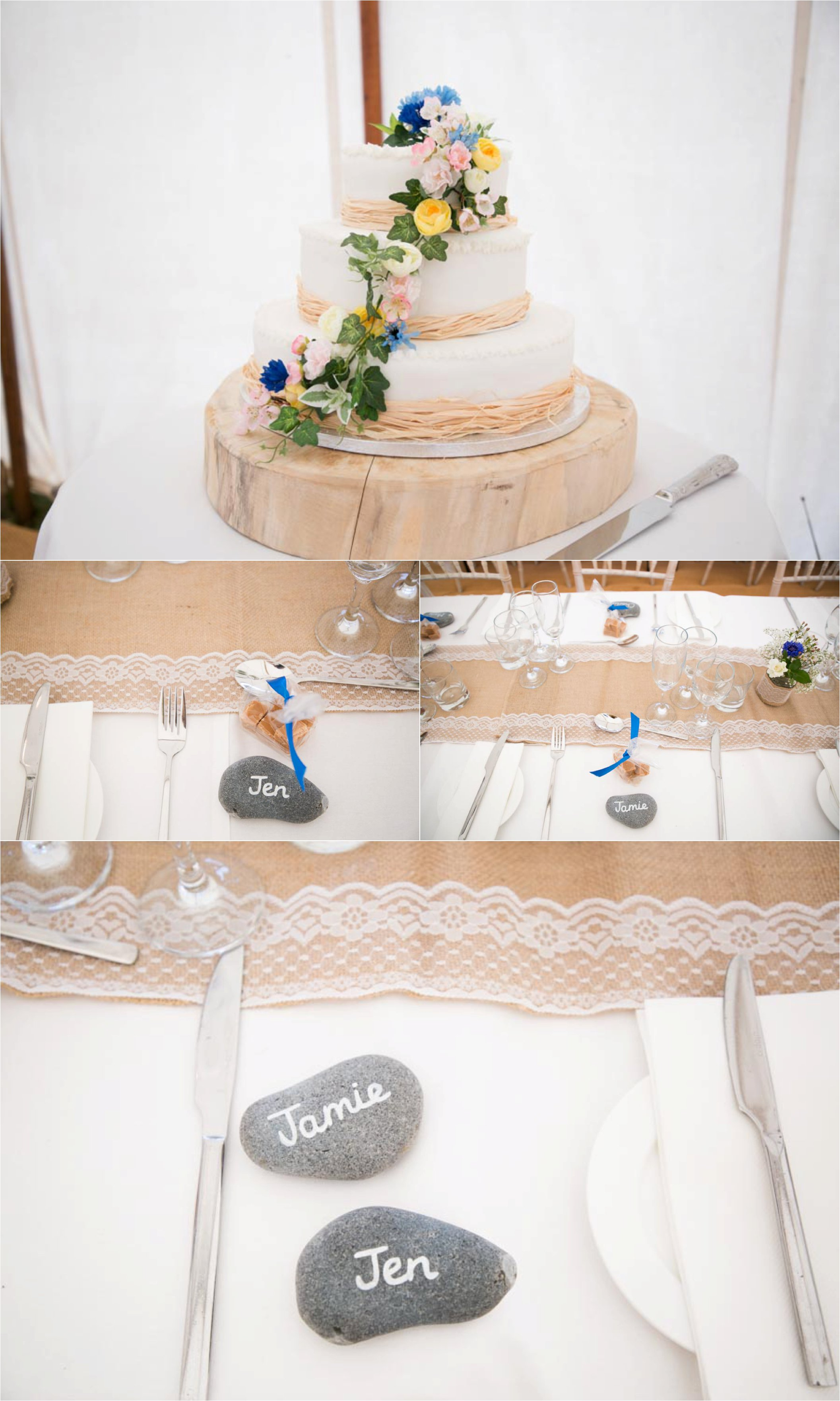 place names on stones and natural wedding cake, aldeburgh wedding photography