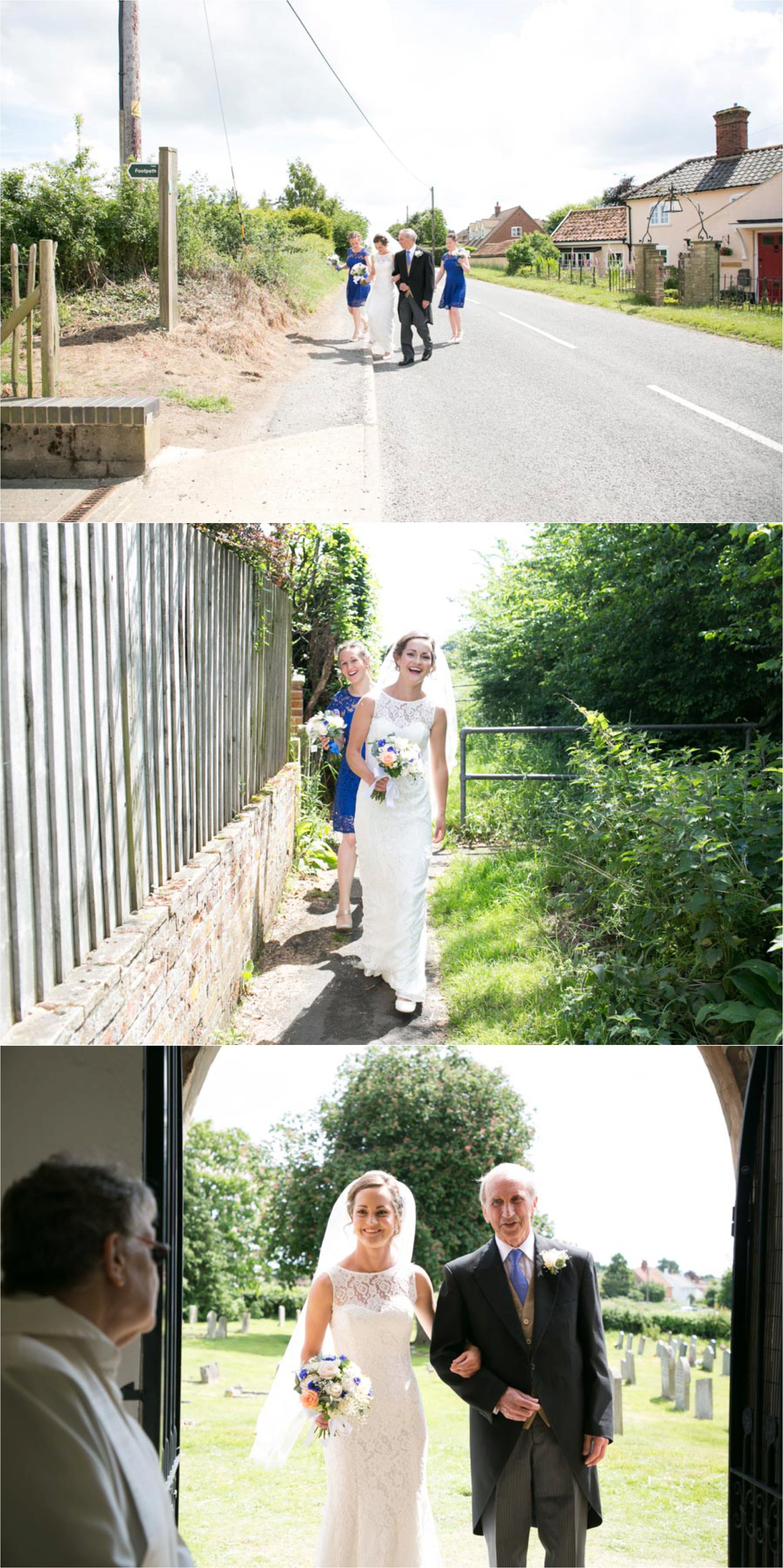 Bride walking to the church with dad, suffolk wedding photography