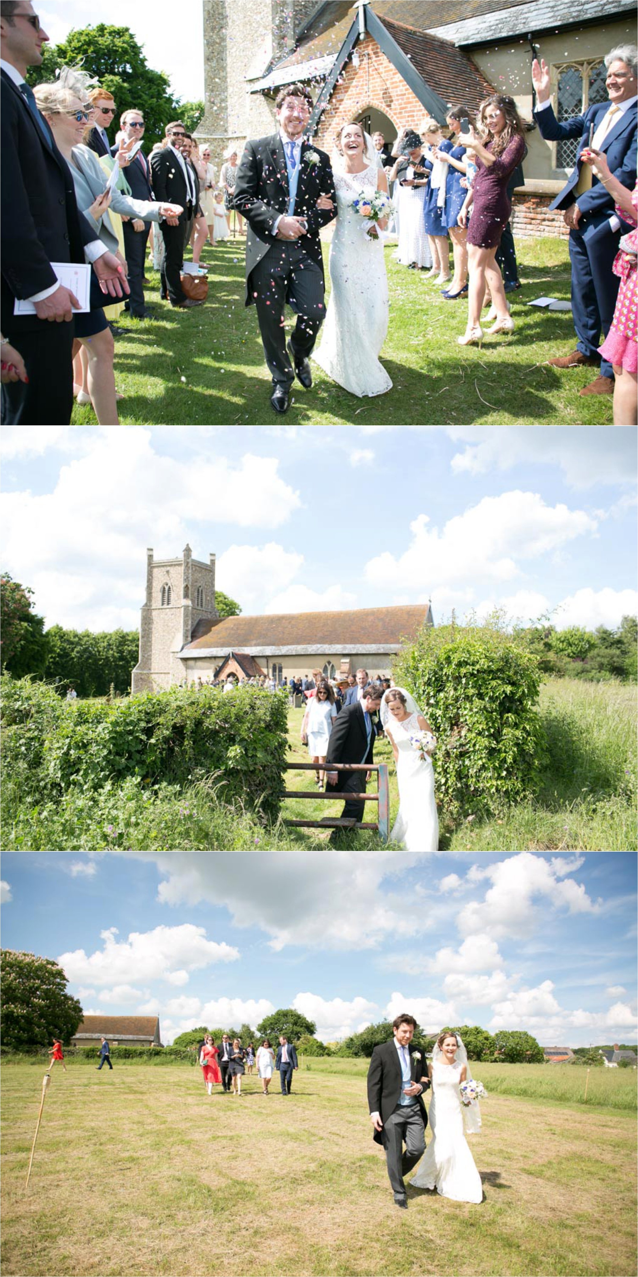 relaxed honest wedding photography, Aldeburgh suffolk. Wlaking from th church to the marquee in a field