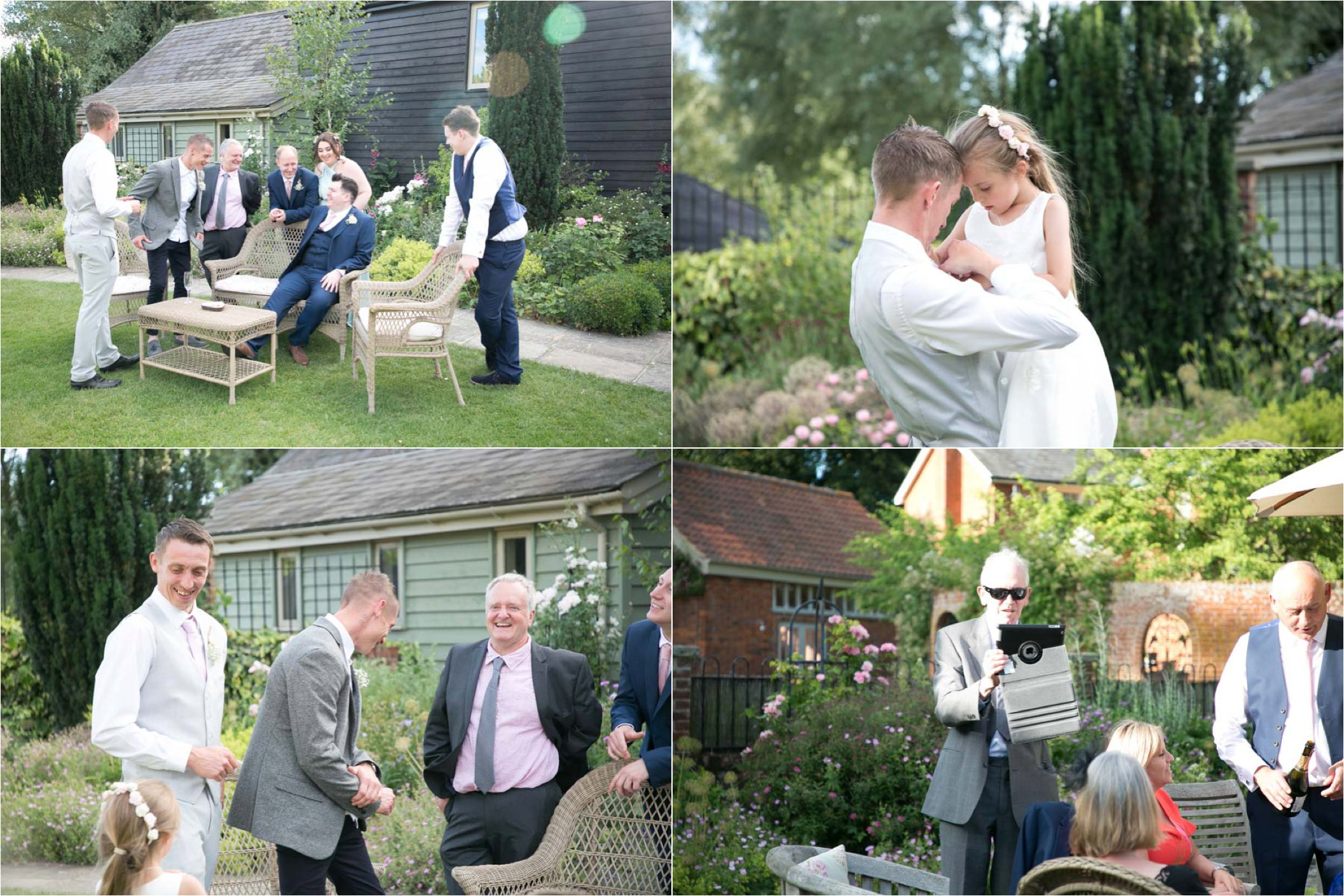 relaxed reception at wedding at the garden barn, suffolk