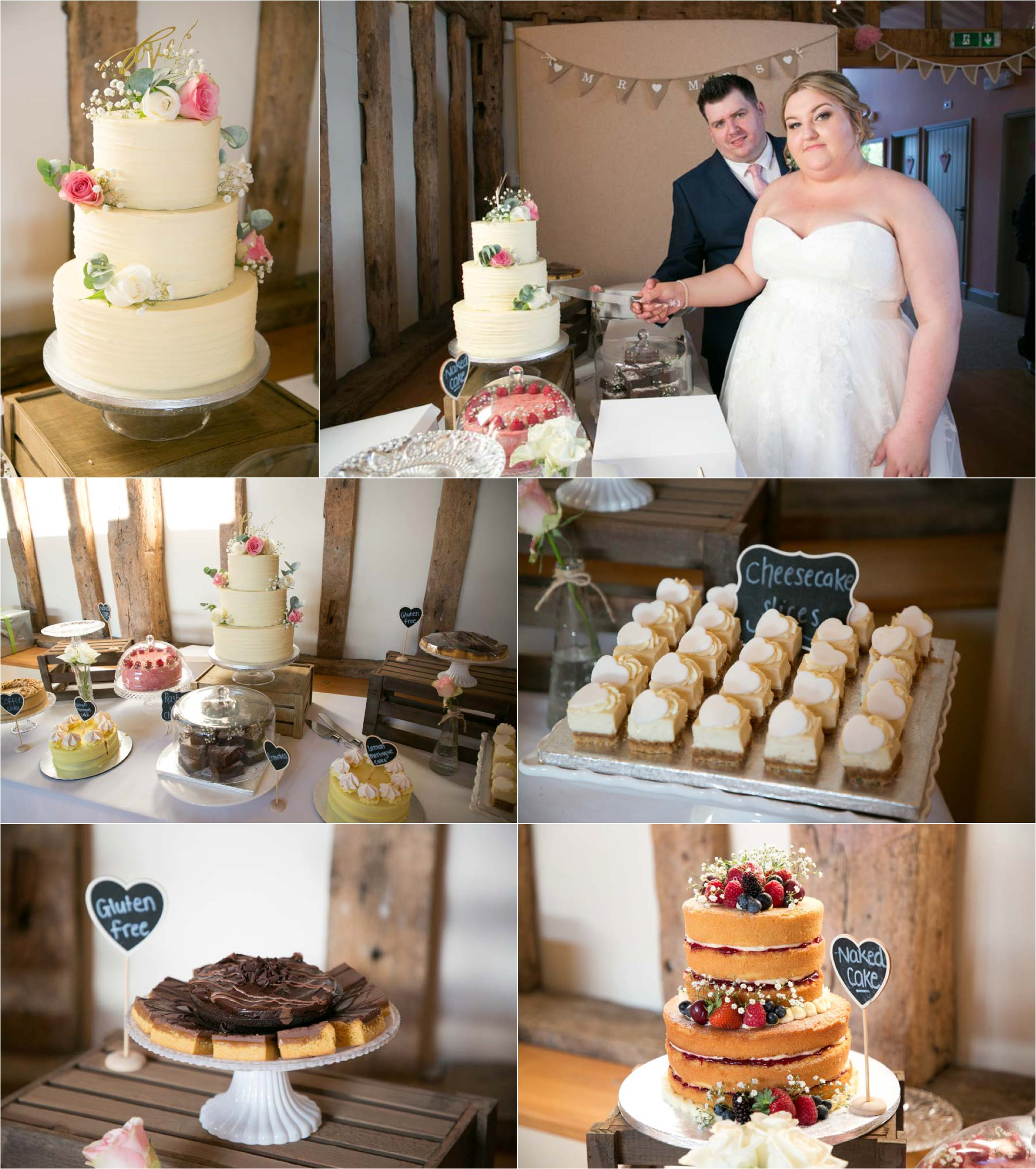 table of wedding cakes, the garden barn, suffolk