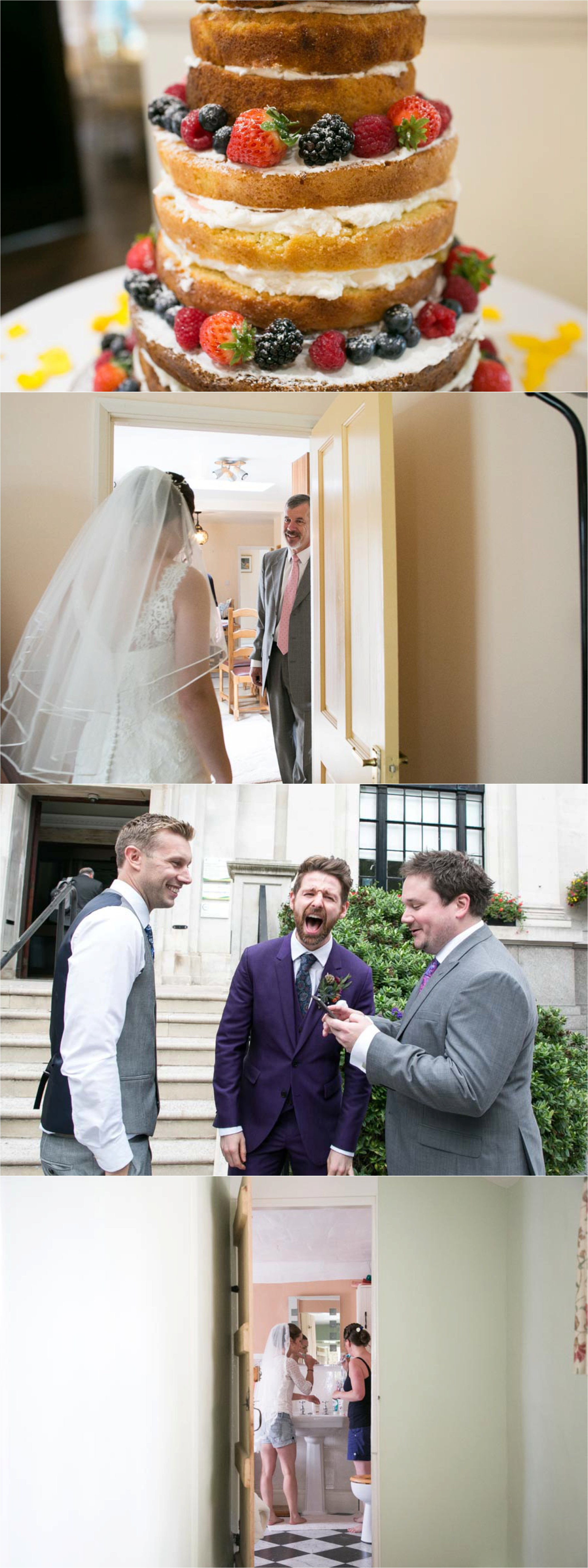 naked cake and laughing groom at london and suffolk weddings