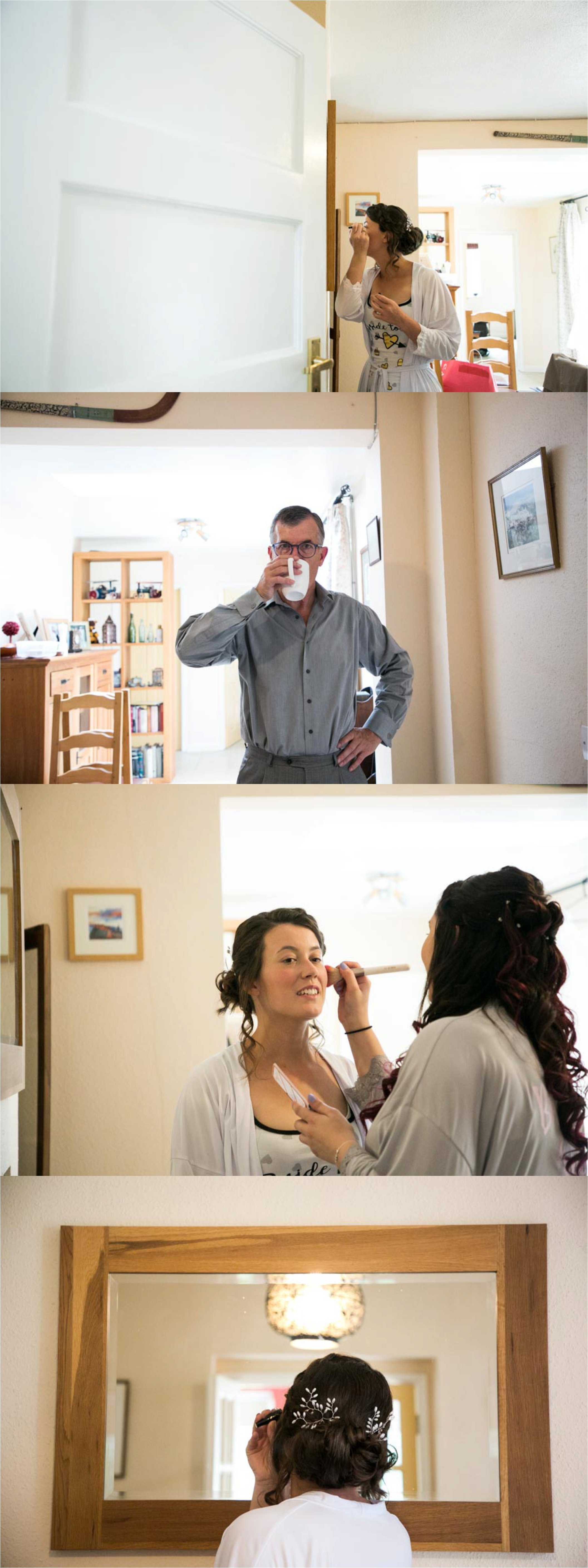 bride getting ready at home with family, suffolk wedding photography