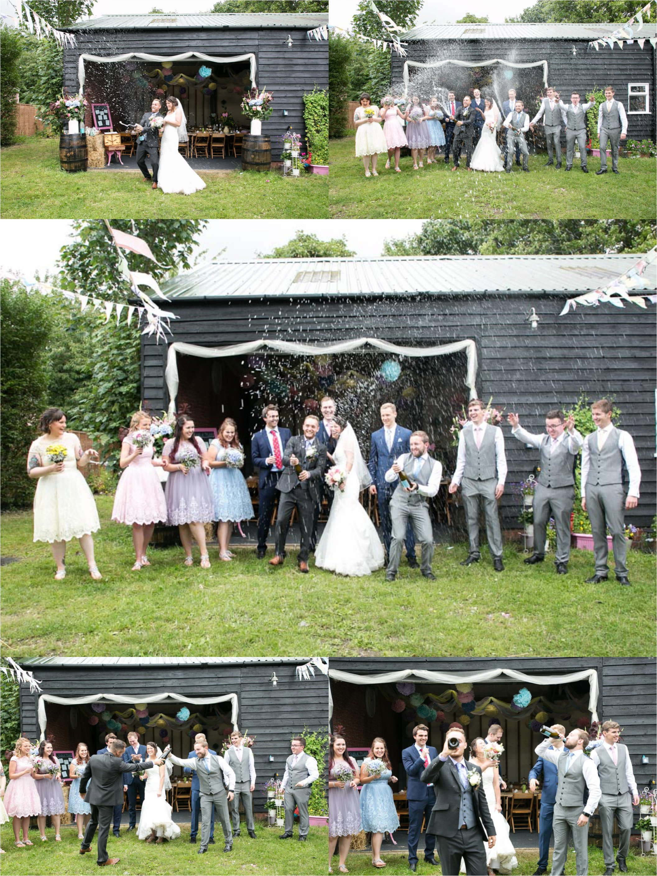 bride and groom spraying champagne at rustic farm wedding