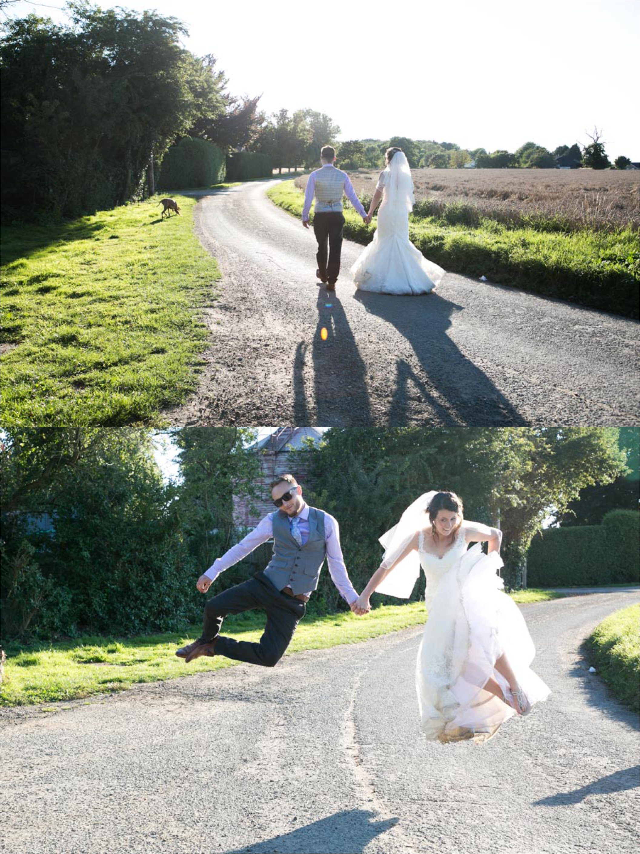 walking into the golden sunshine and bride and groom jumping at suffolk wedding