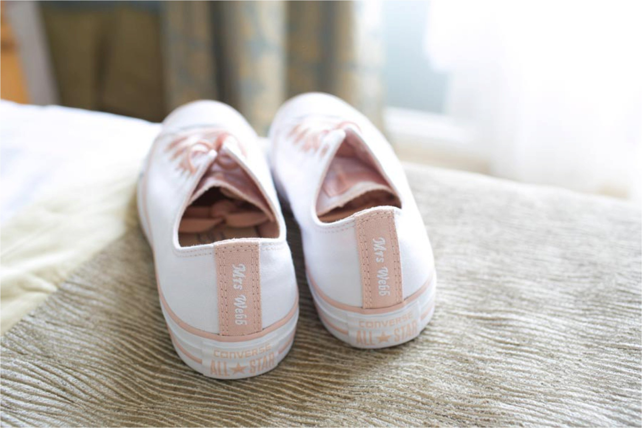customised sneakers at essex wedding