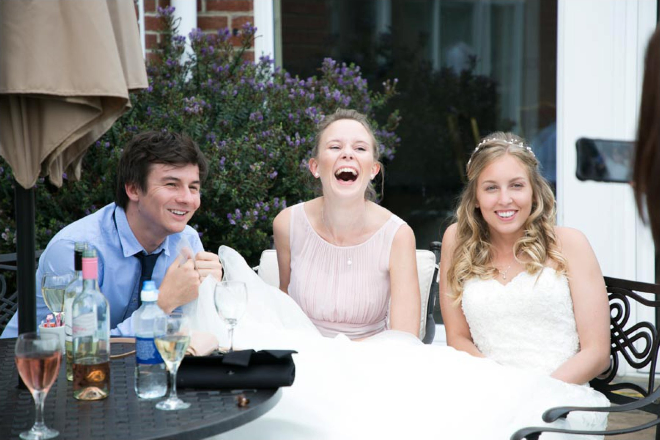 laughing guests at wedding reception stoke by nayland