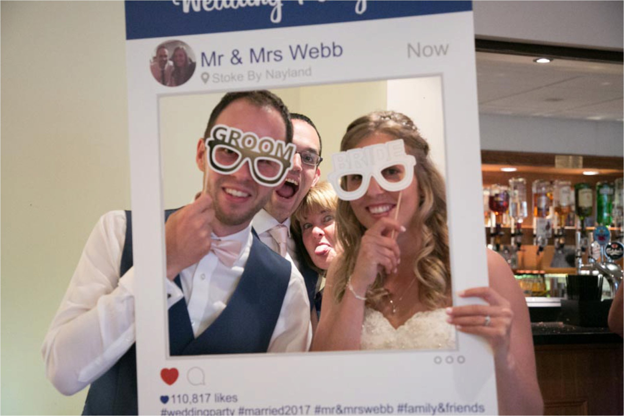 instagram selfie bride and groom stoke by nayland wedding