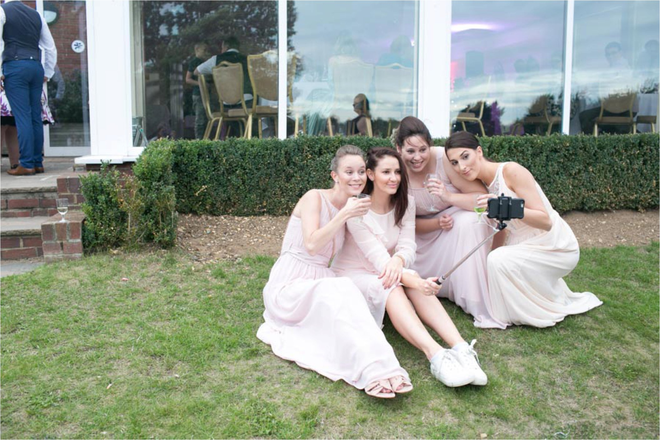 selfie stick bridesmaids at stoke by nayland golf club