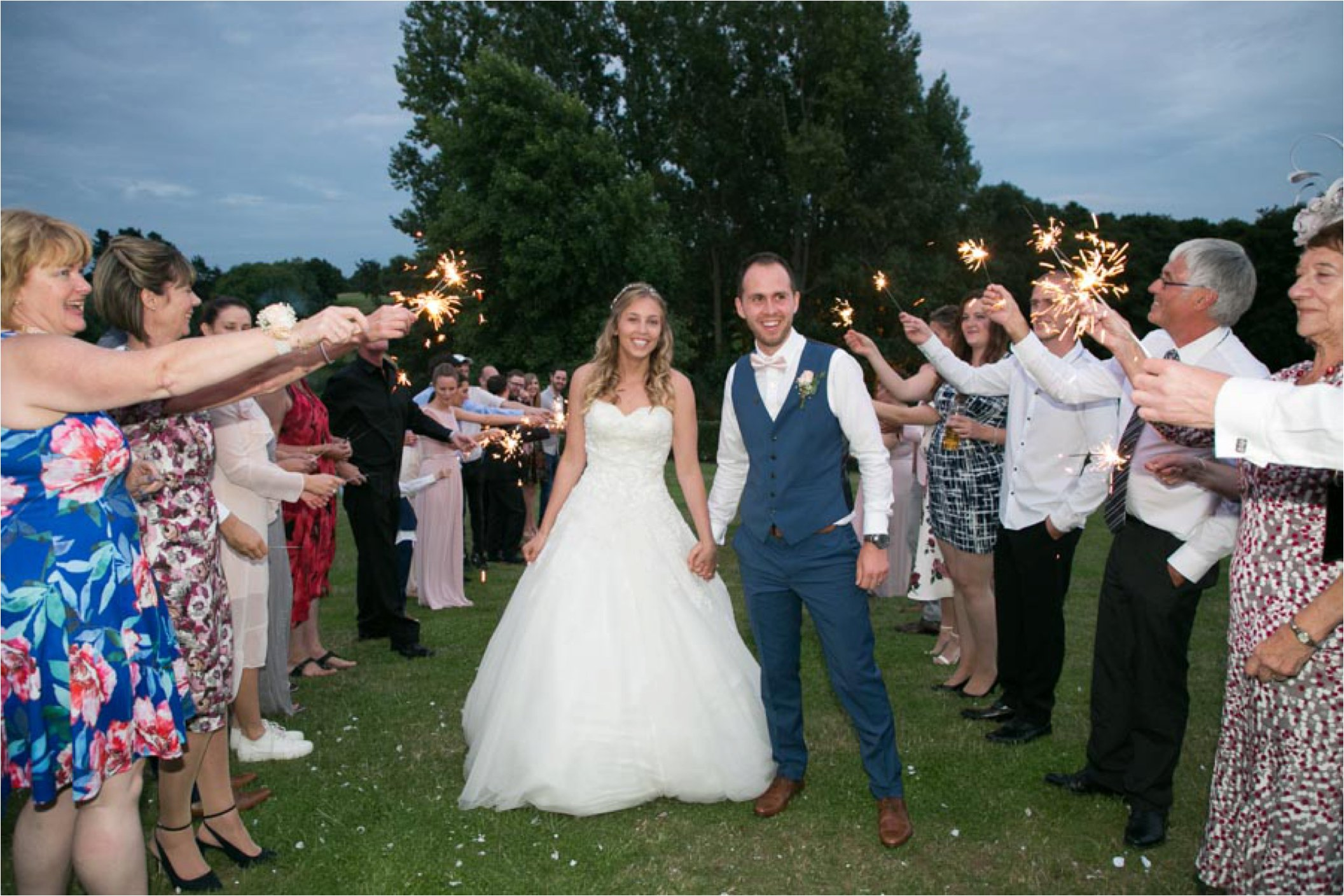 sparklers at soke by nayland wedding
