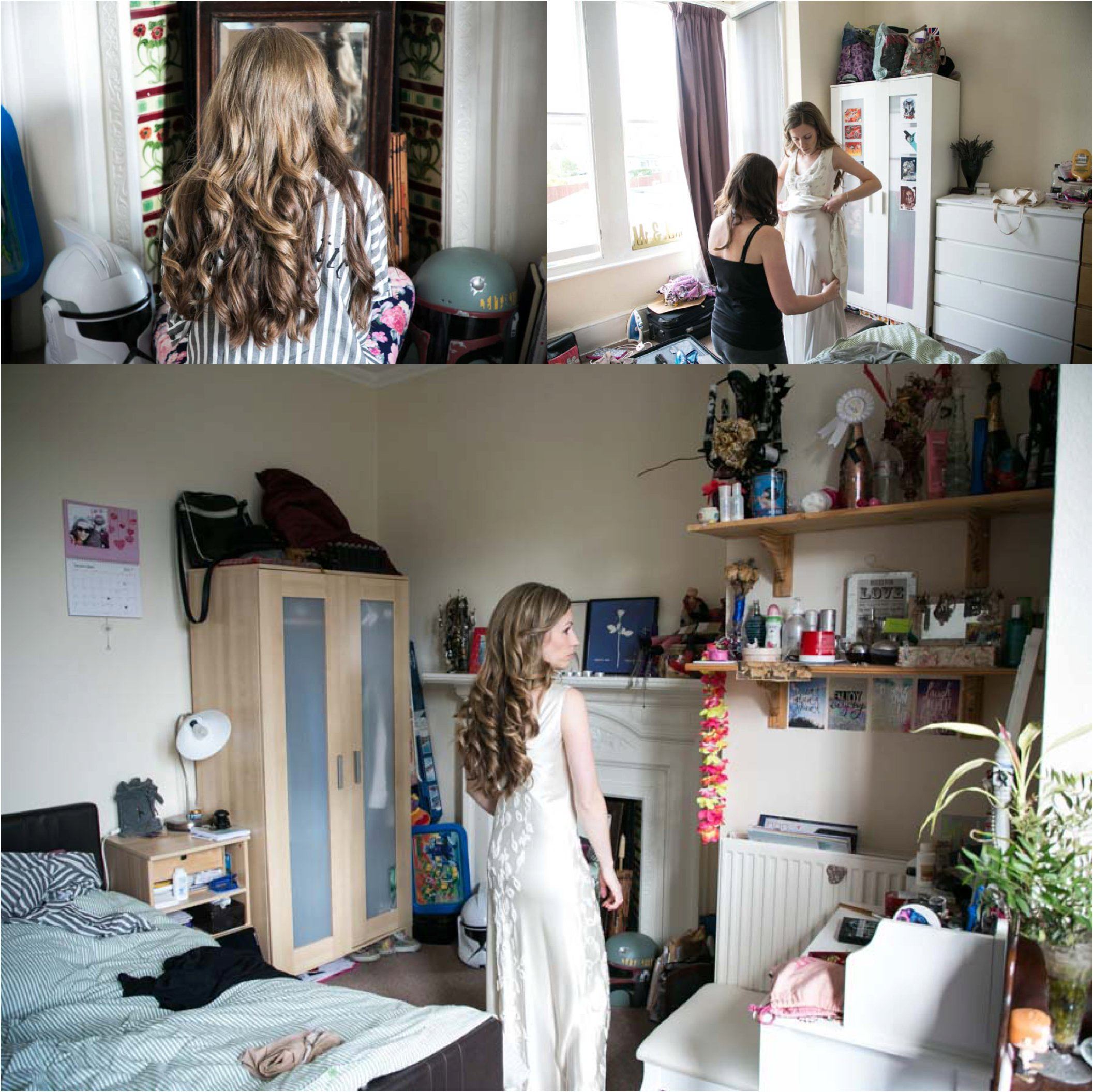 bride with long hair getting ready at home, london wedding