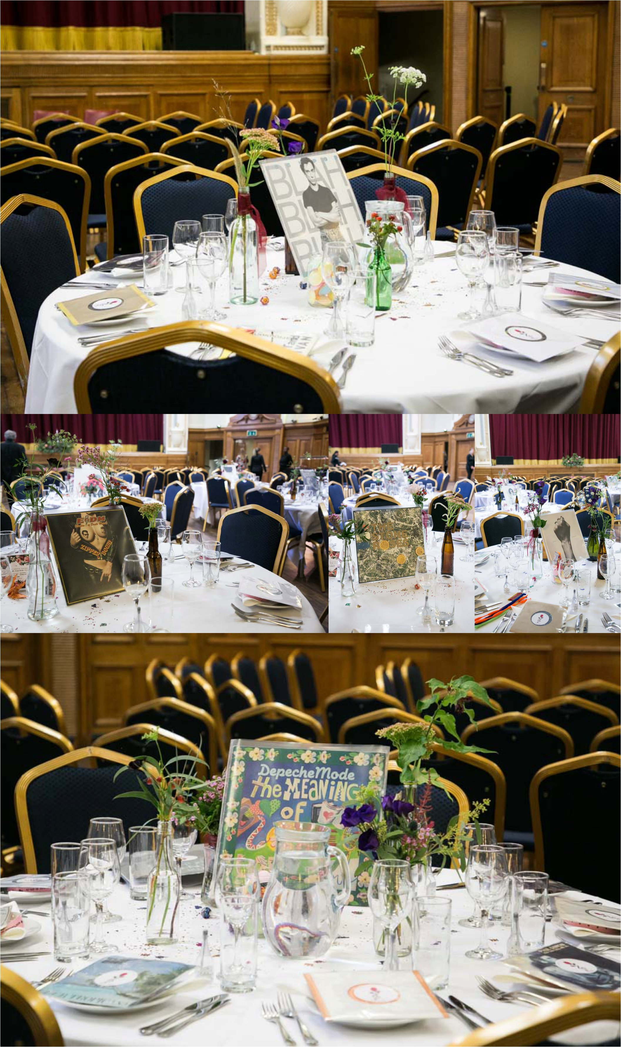 tables decorated for music themed quirky wedding at islington assembly rooms, london