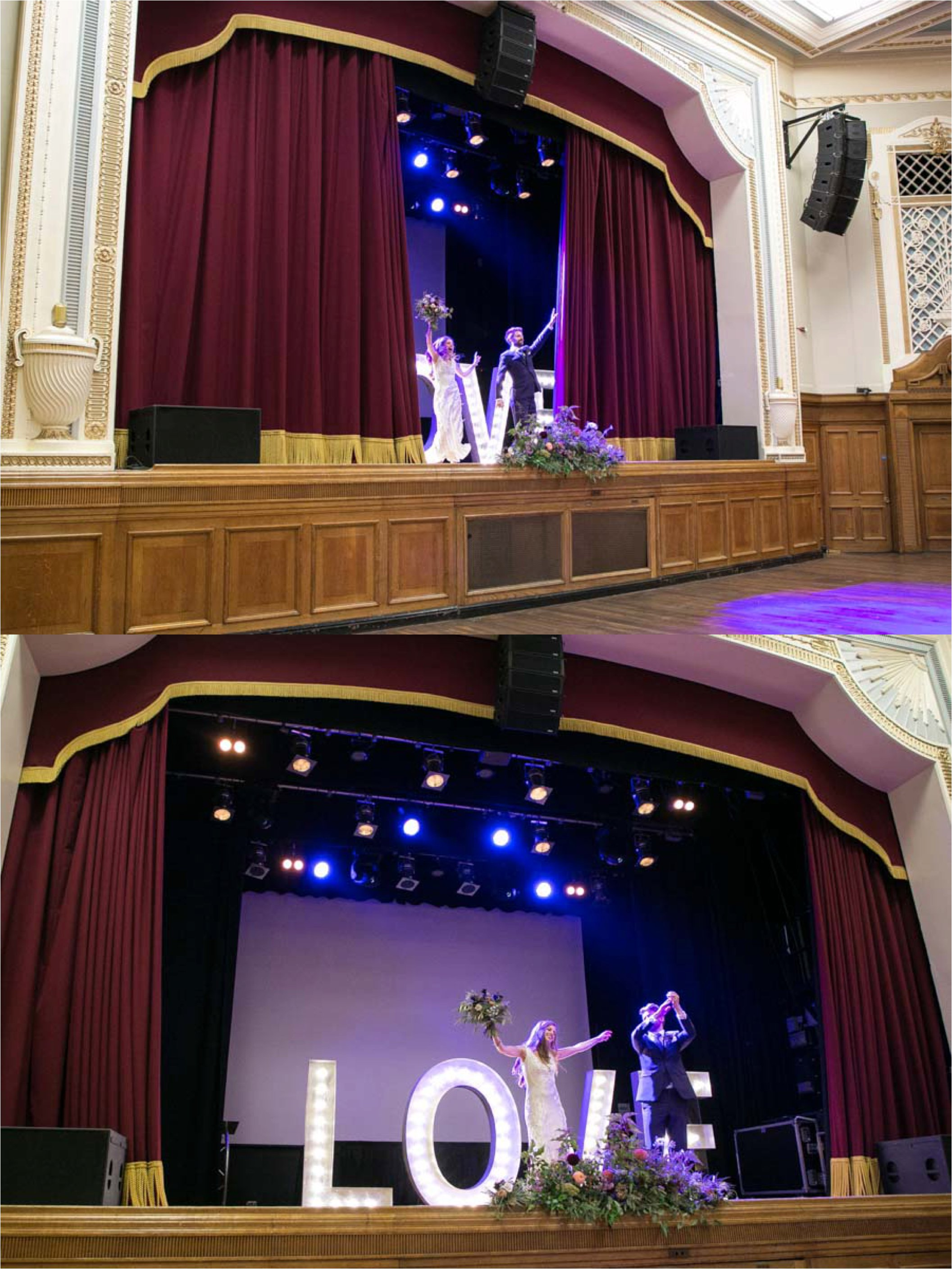 bride and groom making an entrance at islington town hall wedding, on the stage with giant love behind them