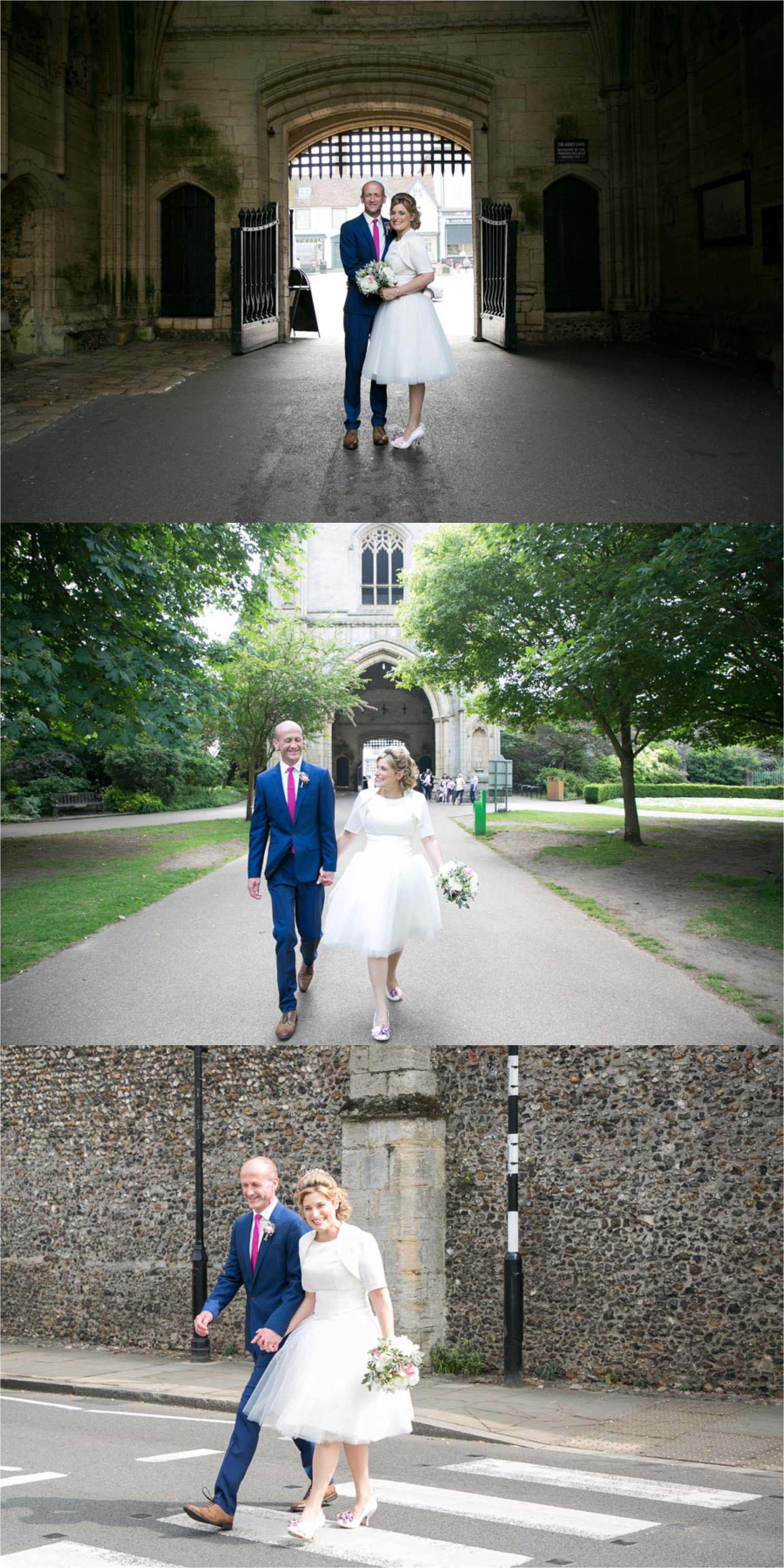 Natural fun wedding photography in Bury St Edmunds for small 50's wedding