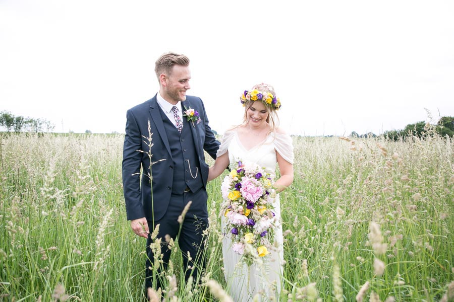 relaxed romantic wedding photography with flower crown at Reid Rooms wedding