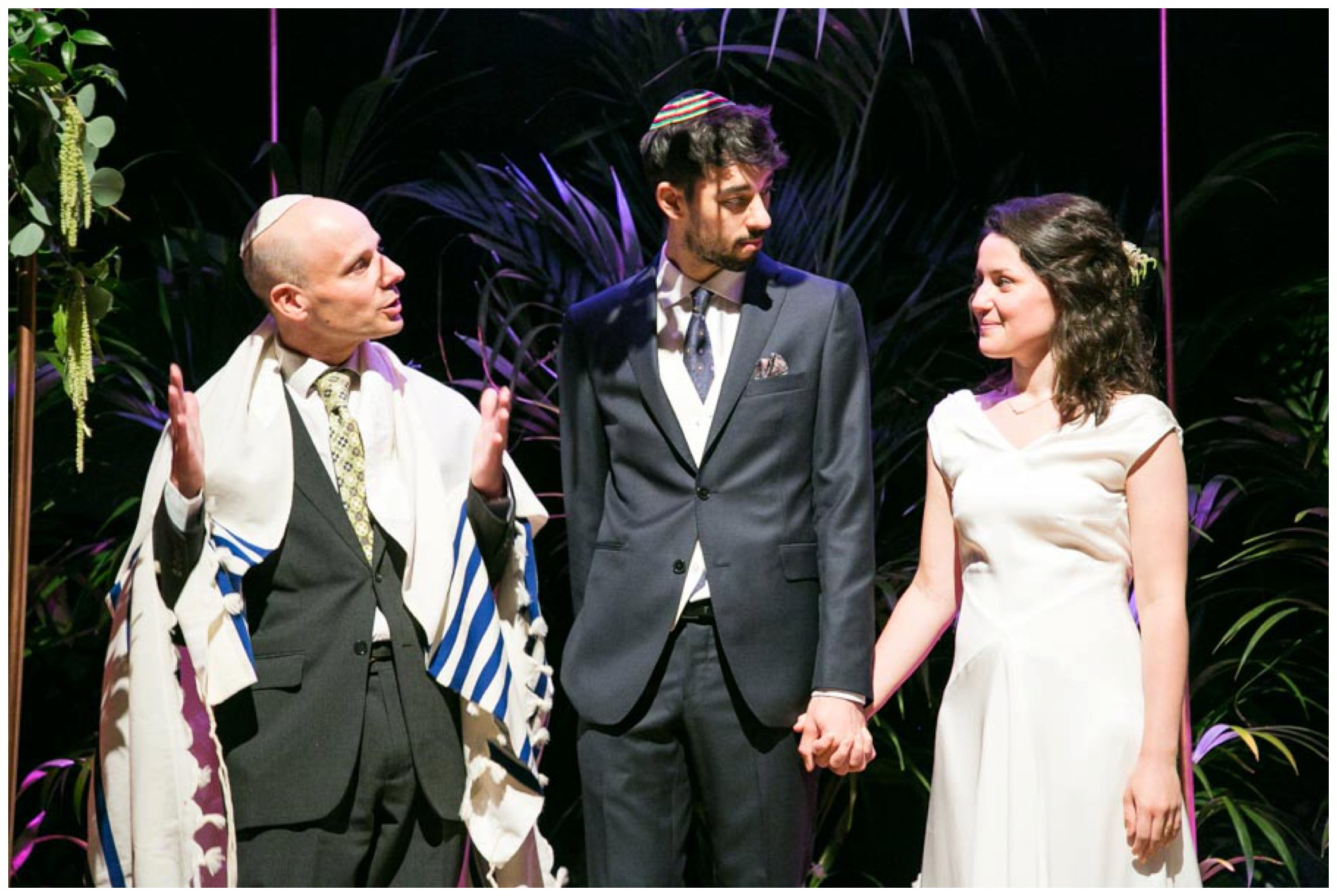 jewish wedding ceremony, bride and groom looking at each other