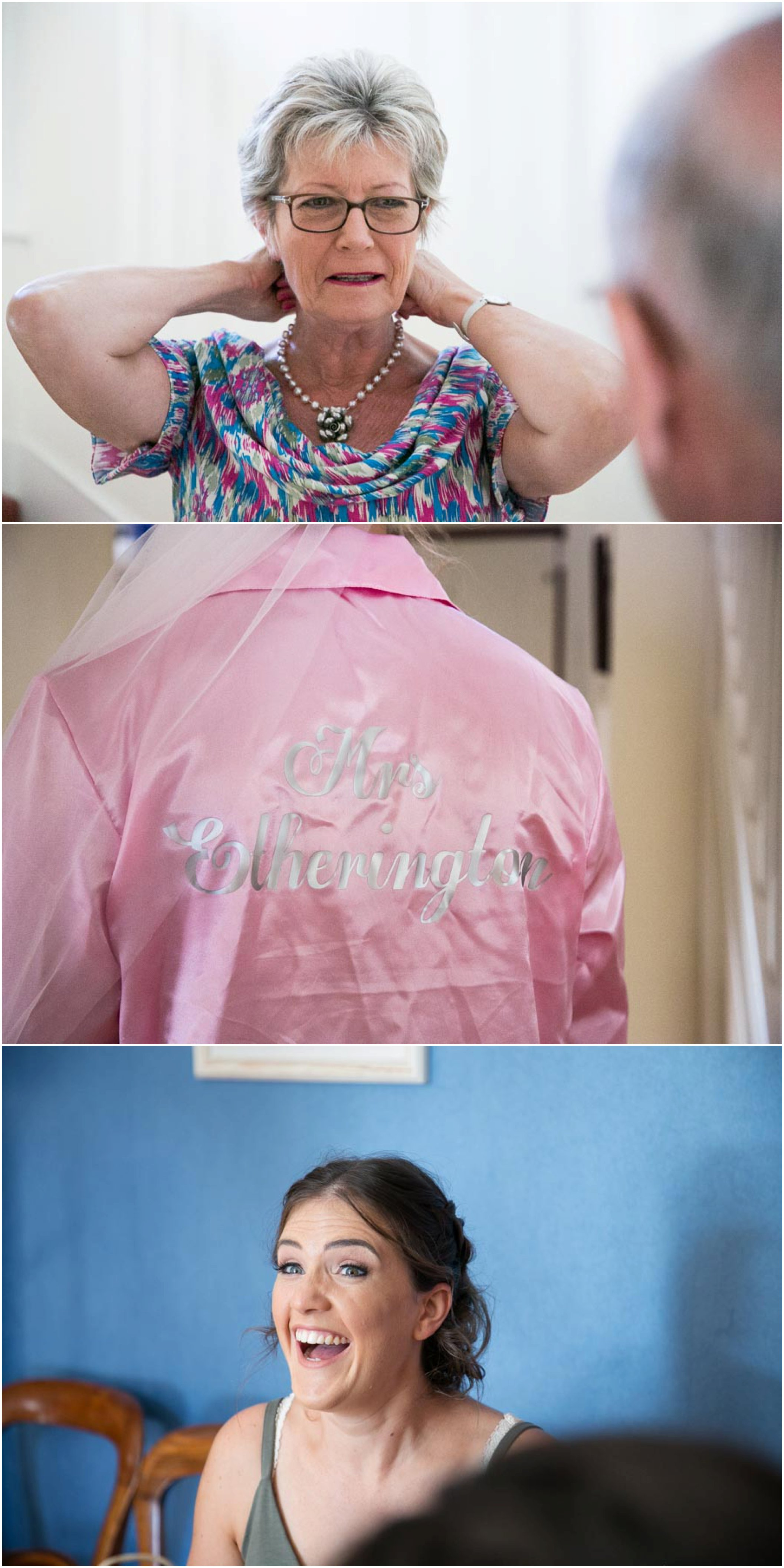 mother of the bride getting necklace on, bride to be's embroidered dressing gown, getting ready for wedding. 3 images